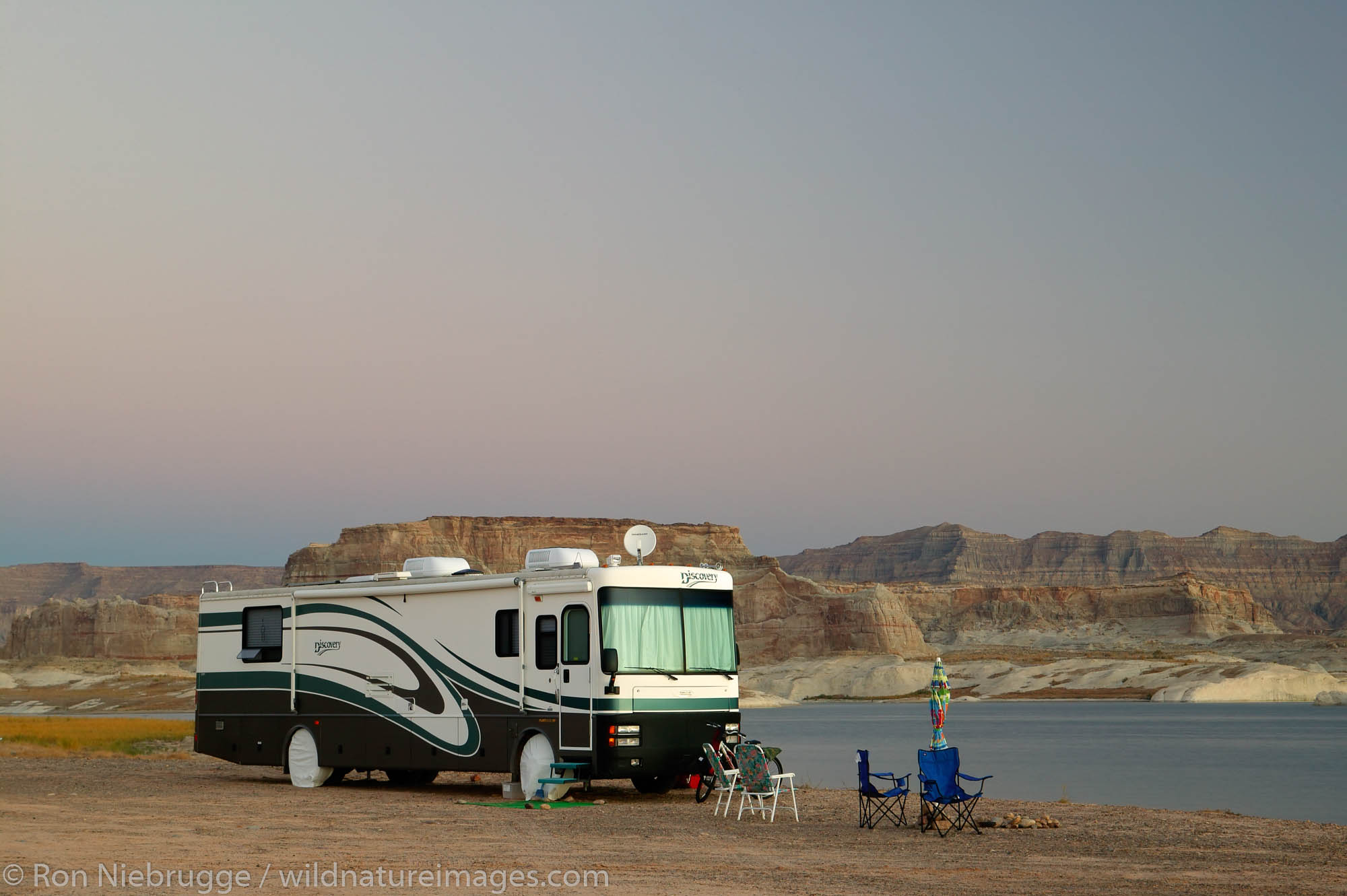 Camping at the Lone Rock Primitive Campground, Lake Powell and the Glenn Canyon Recreation Area, Utah.  This is near Page, Arizona...