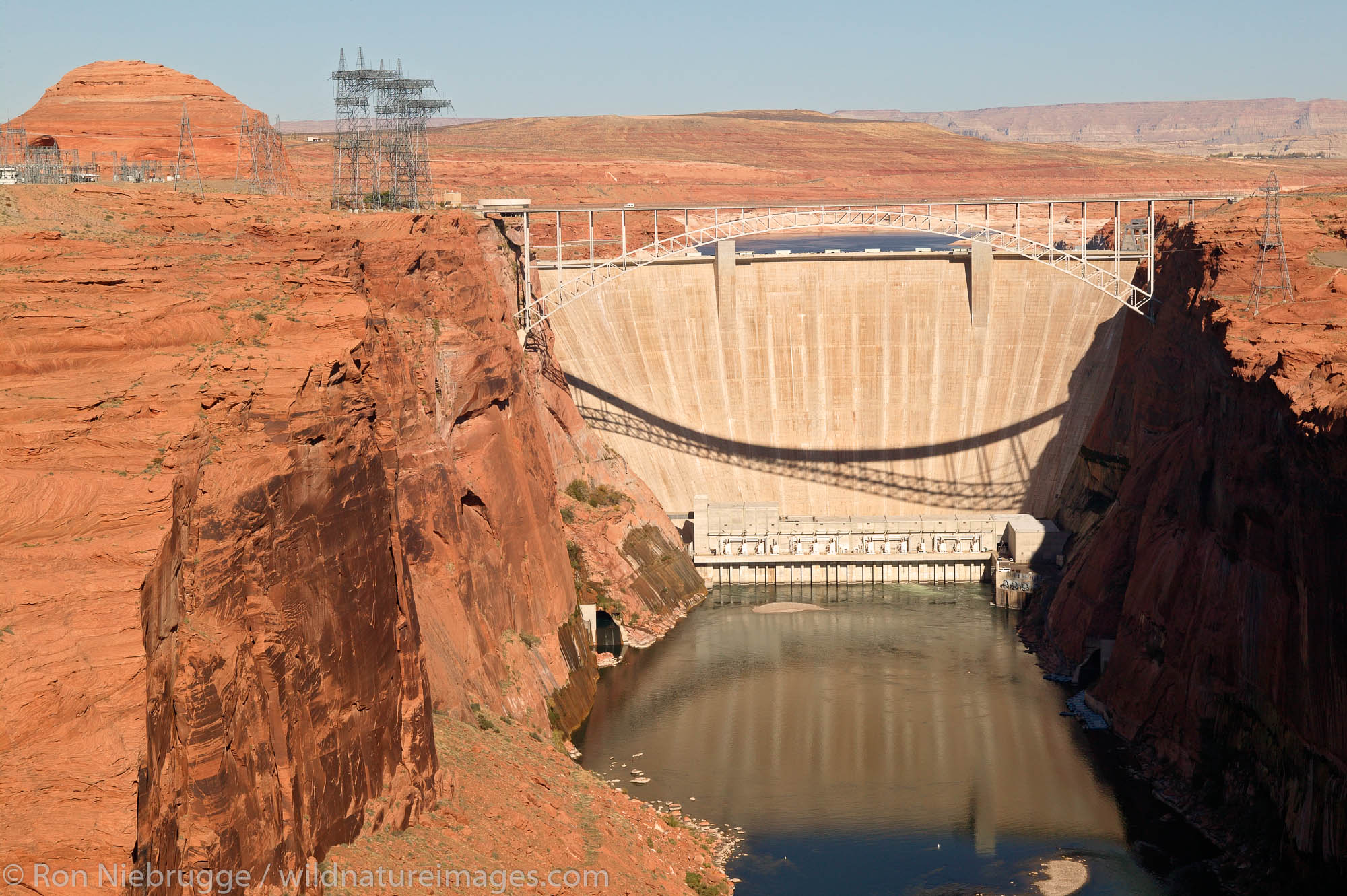 The Glen Canyon Dam on the Colorado River forms Lake Powell, Page, Arizona.