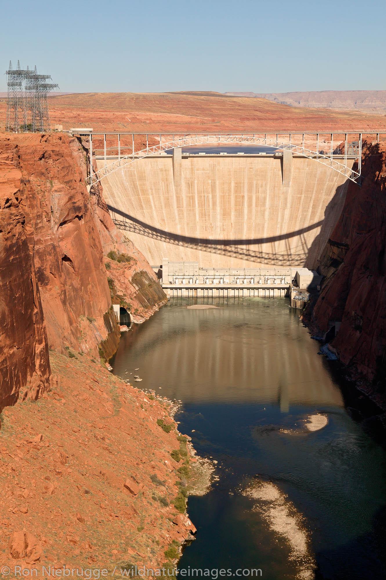 The Glen Canyon Dam on the Colorado River forms Lake Powell, Page, Arizona.