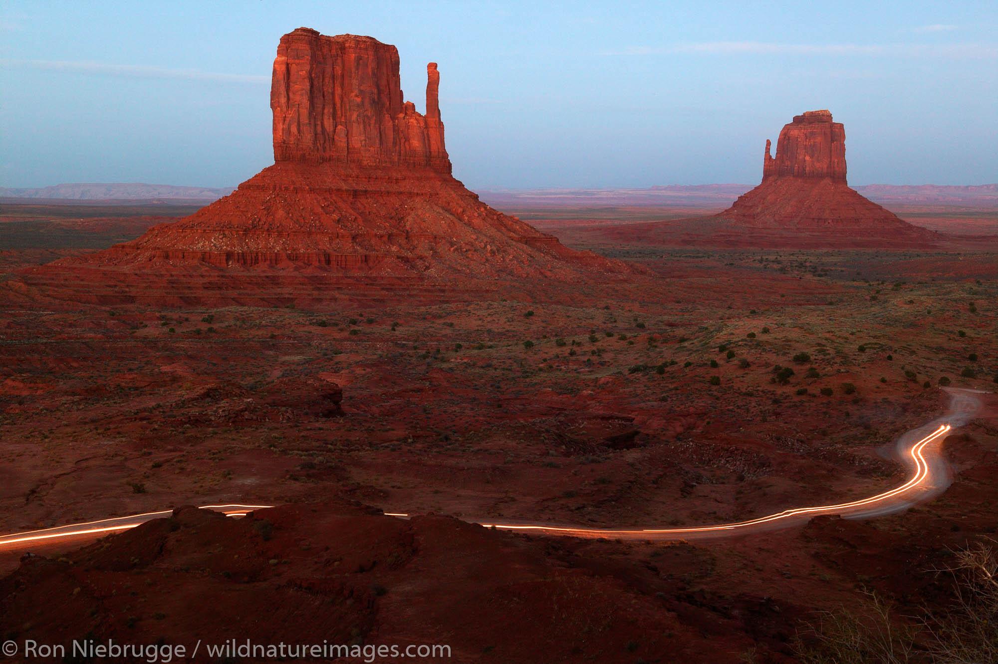 Vehicles leaving Monument Valley Navajo Tribal Park, Utah.