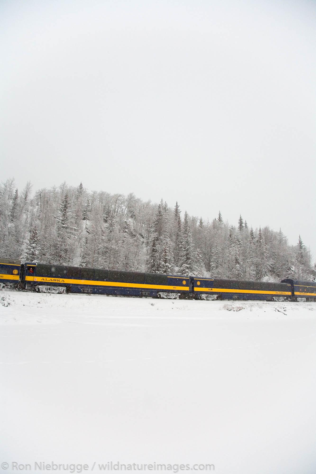 The Alaska Railroad travels along Lower Trail Lake during the winter, Chugach National Forest, Alaska