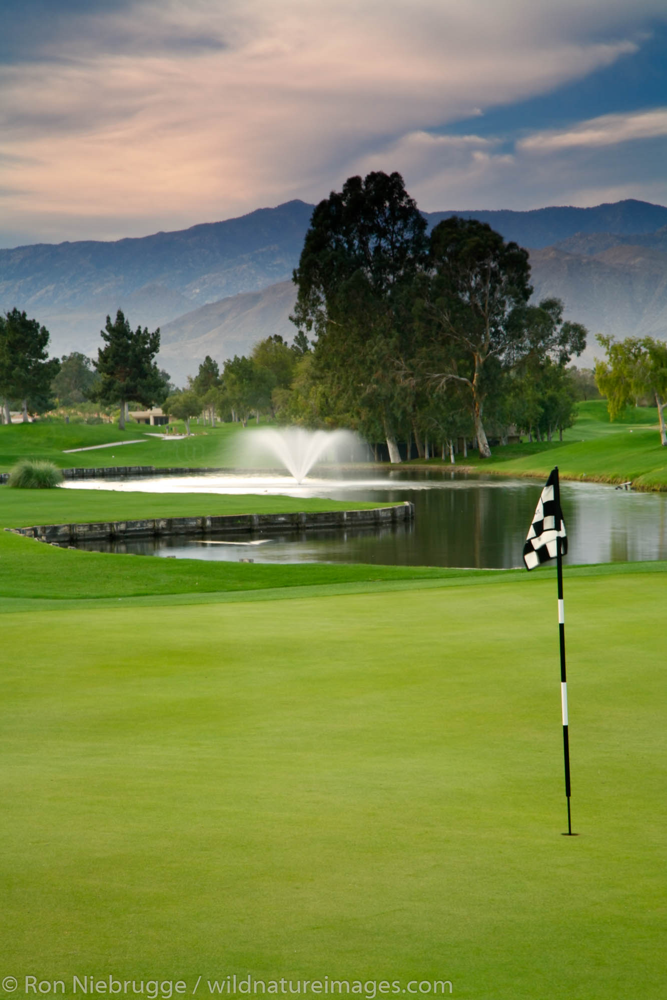 The 18th hole on the golf course at the Westin Mission Hills Resort and Spa in Rancho Mirage near Palm Springs, California.