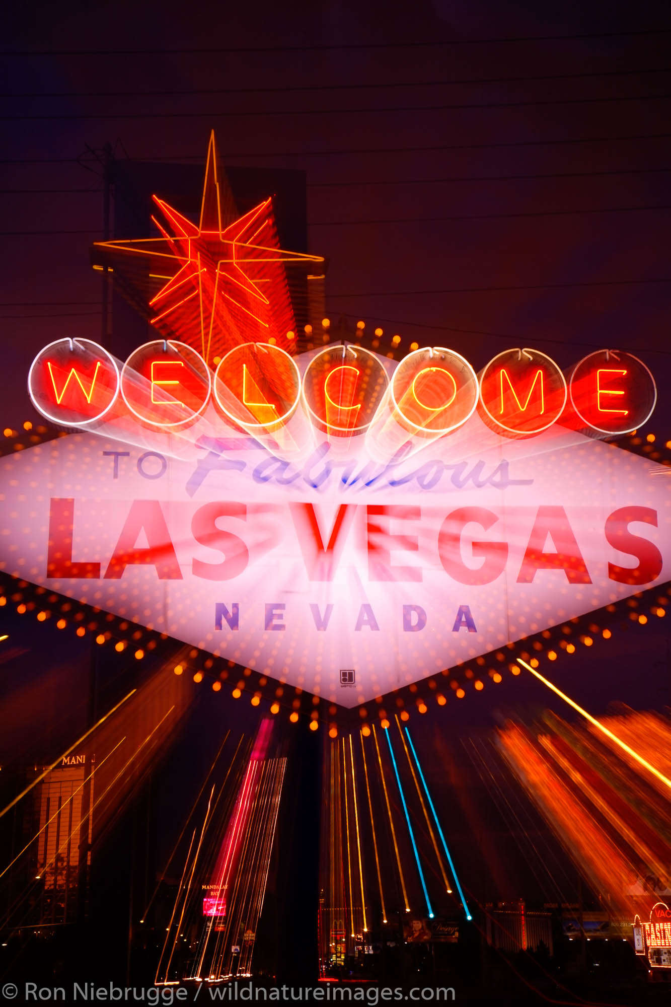 The Welcome to Las Vegas sign at night, Las Vegas, Nevada.