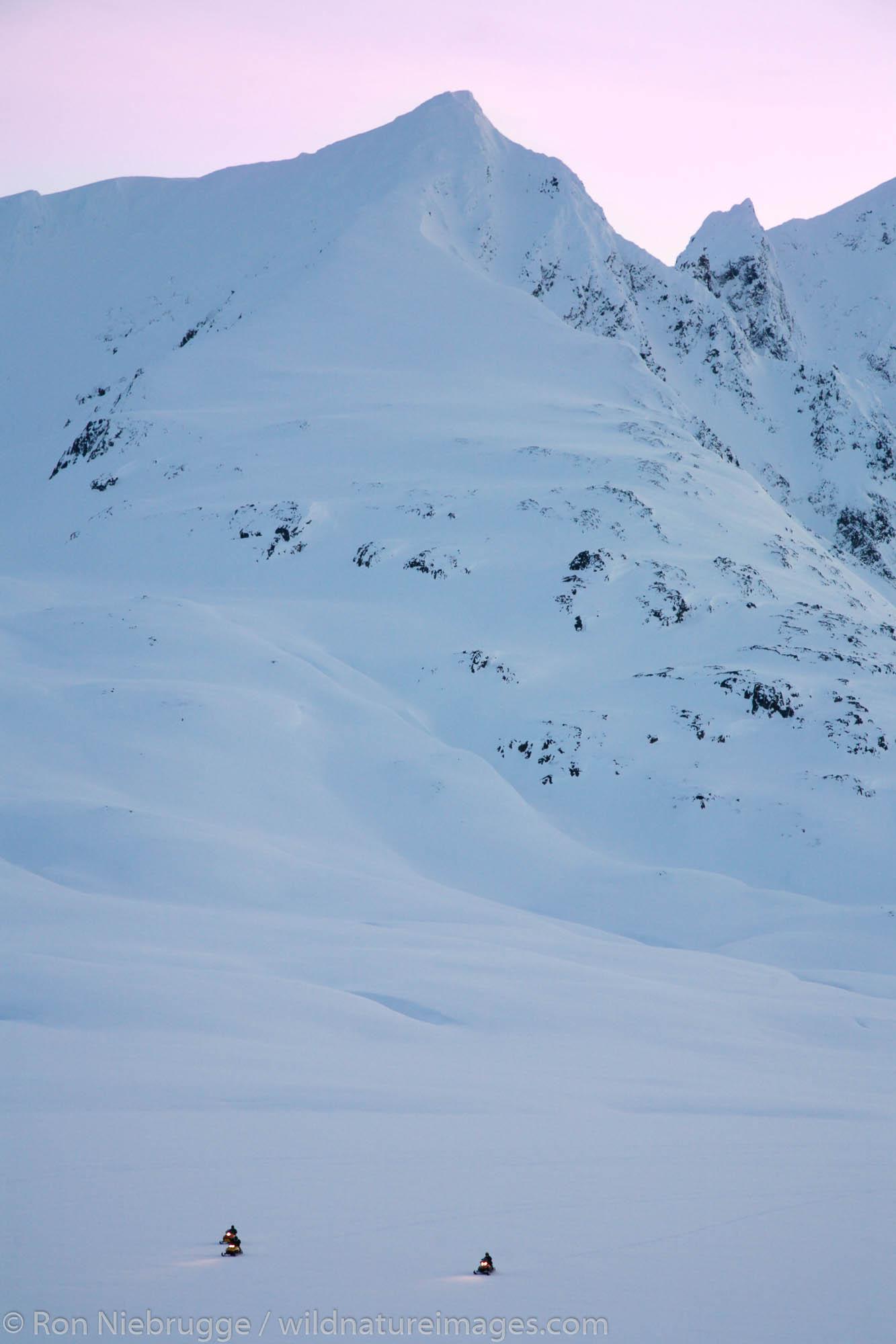 Snowmachining across Lost Lake, Chugach National Forest, near Seward, Alaska.