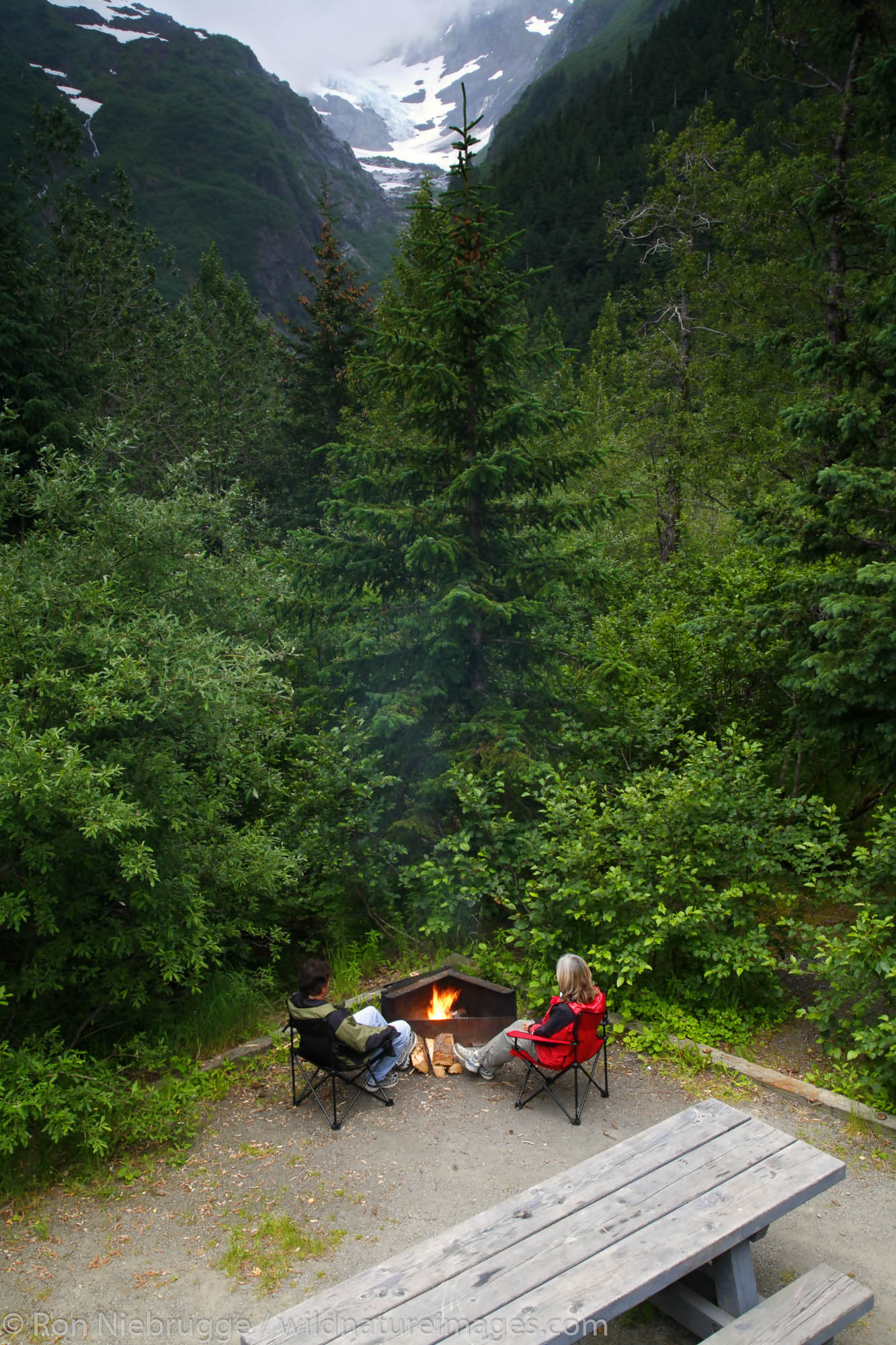 Camping at Williwaw Campground, Portage Valley, Chugach National Forest, Alaska. (MR)