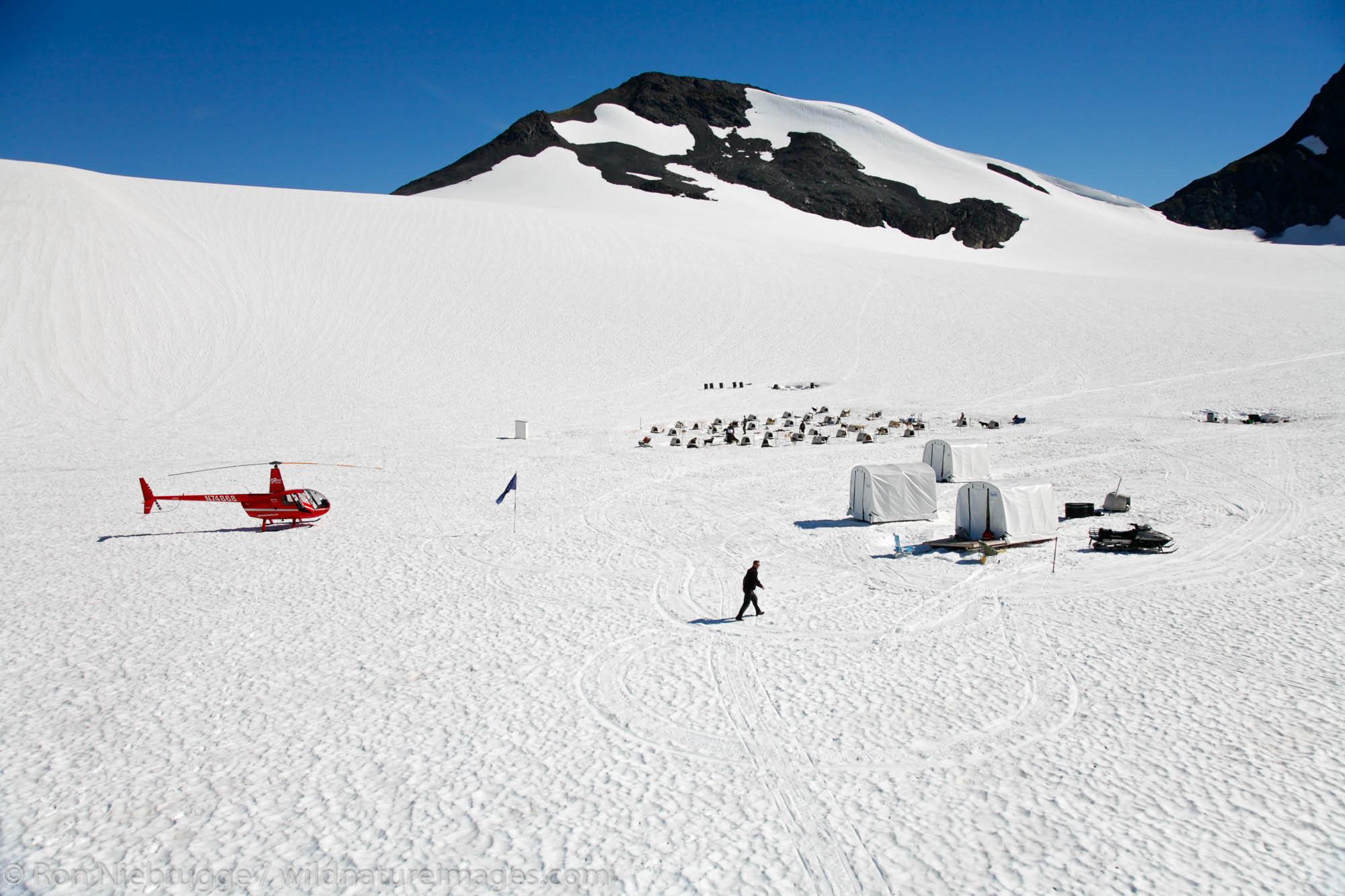 Aerial Punchbowl Glacier, Dog Sled Tour, Chugach National Forest, Alaska.
