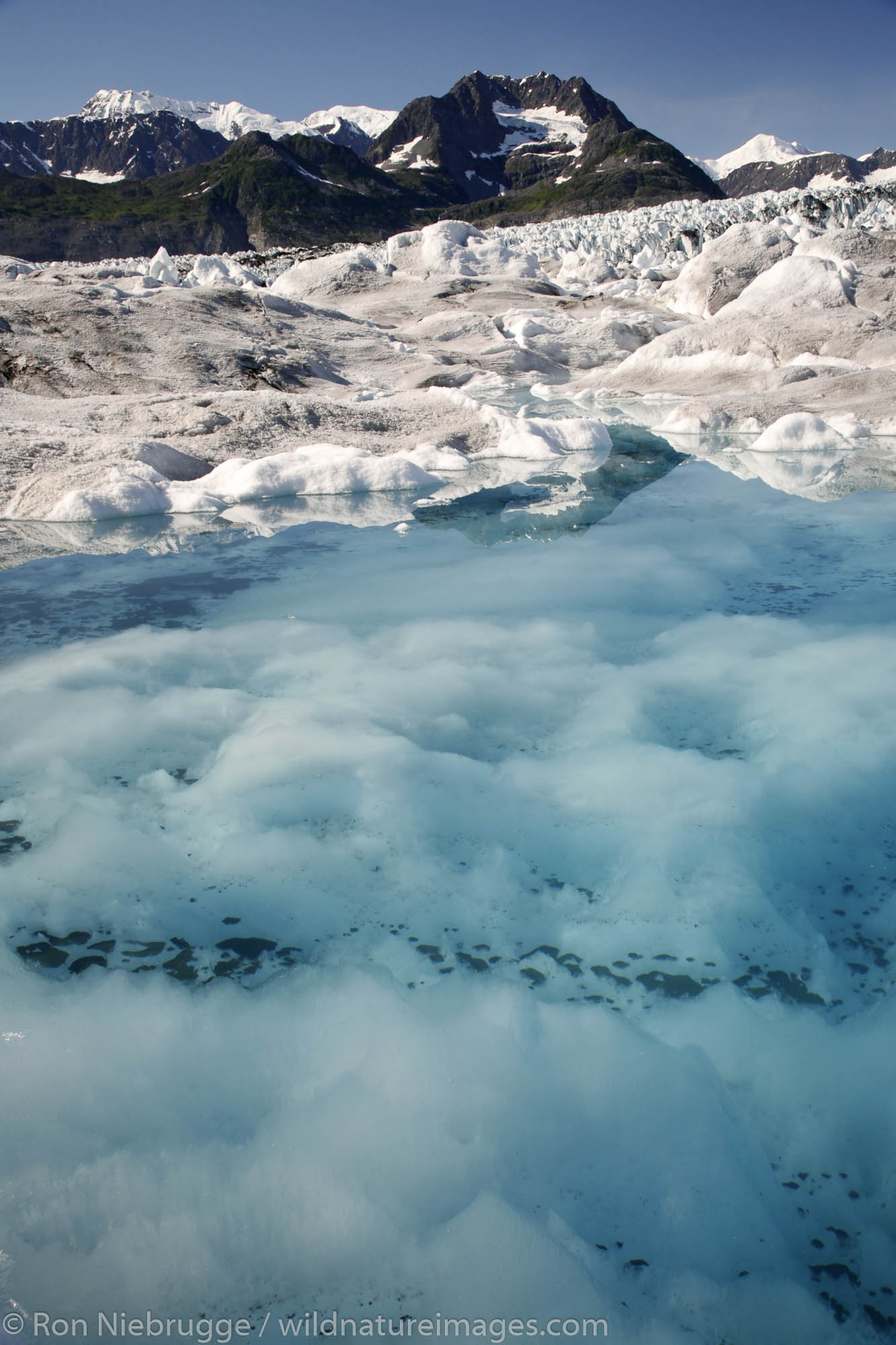 Meltwater pool on Columbia Glacier, Prince William Sound, Chugach National Forest, Alaska.