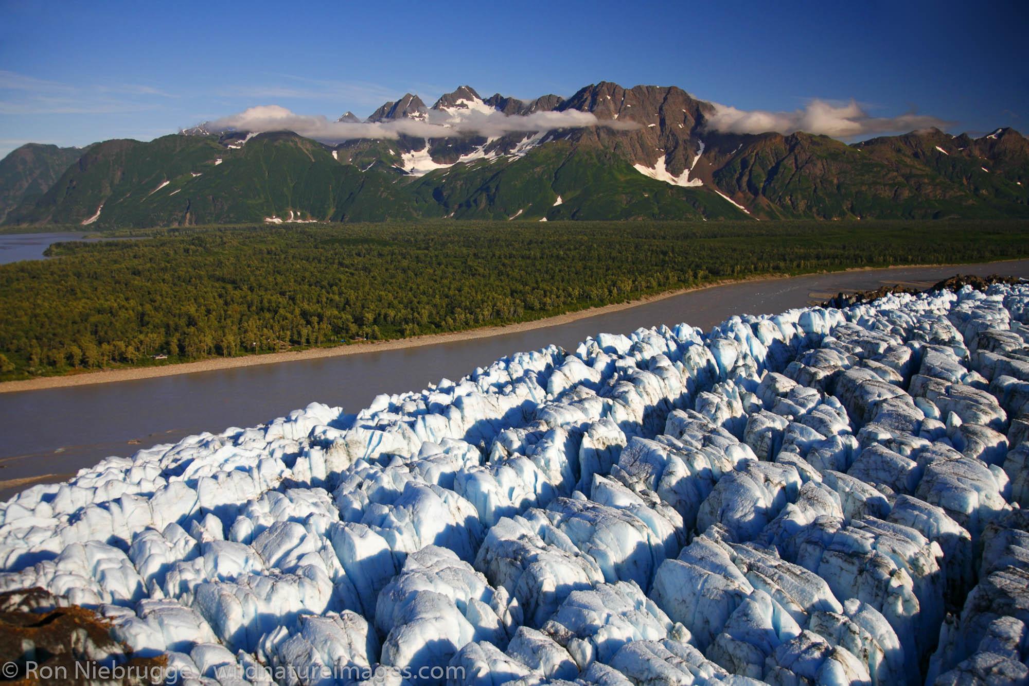 Aerial, Childs Glacier and the Copper River, Chugach National Forest near Cordova, Alaska.
