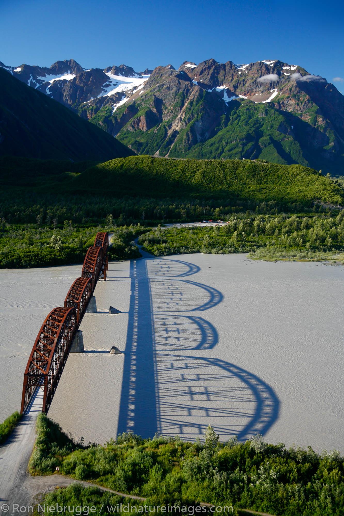 Aerial, Million Dollar Bridge crossing the Copper River, Chugach National Forest near Cordova, Alaska.