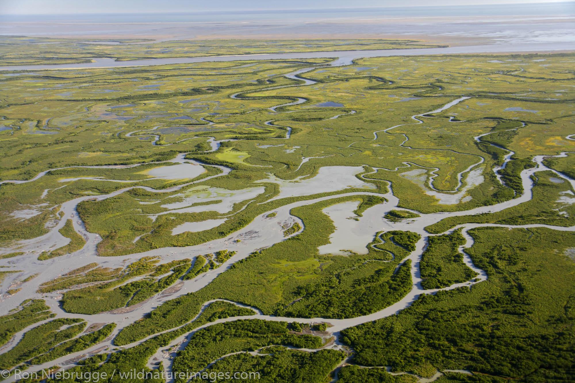 Aerial Copper River Delta, Chugach National Forest near Cordova, Alaska.