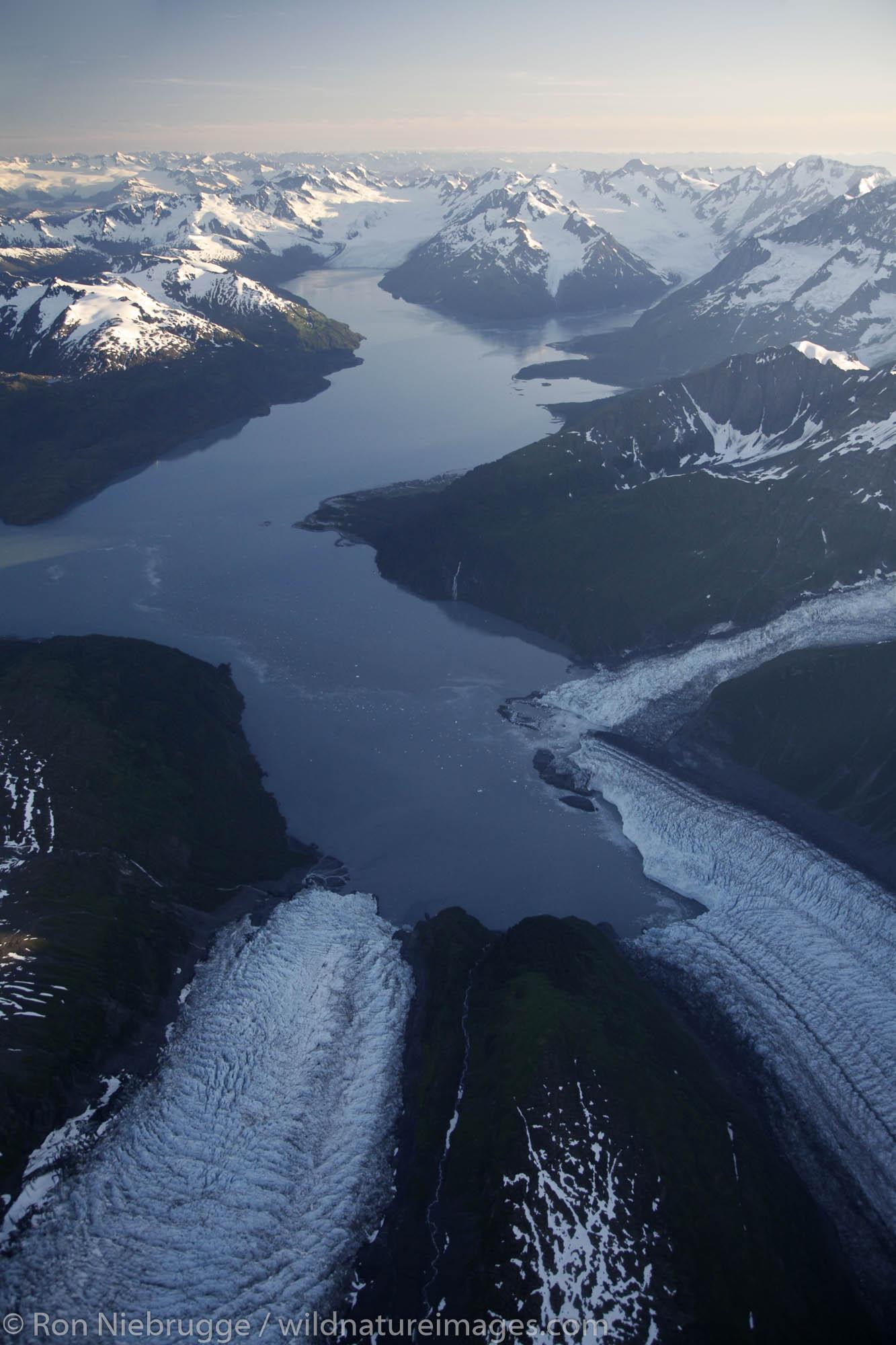 Aerial Harriman Fiord, Chugach Mountains, Prince William Sound, Chugach National Forest, Alaska.
