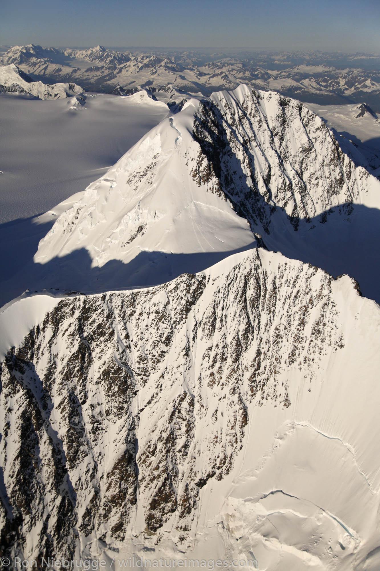 Aerial of Mount Gilbert, Chugach Mountains, Prince William Sound, Chugach National Forest, Alaska.
