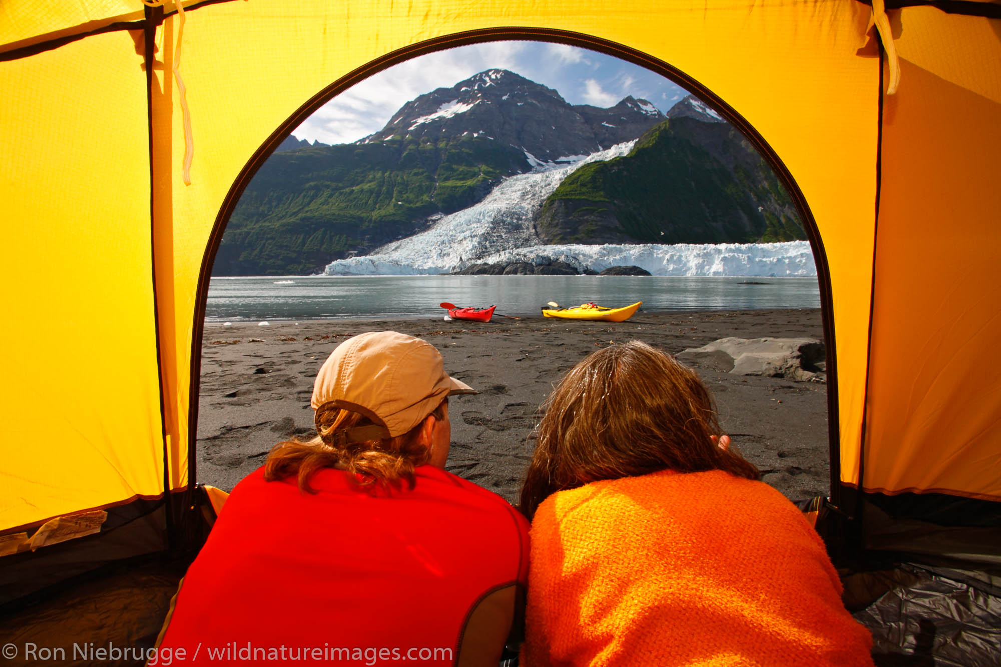 Camping on the beach in Harriman Fiord, Cascade Glacier (l) and Barry Glacier (r), Prince William Sound, Chugach National Forest...