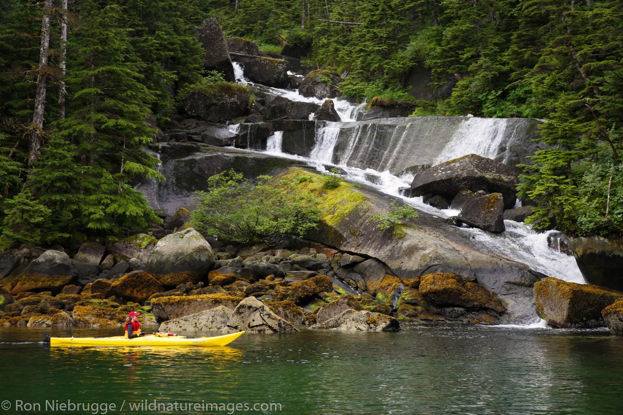 Kayaking in Hidden Bay, Prince William Sound, Chugach National Forest, Alaska. (MR)
