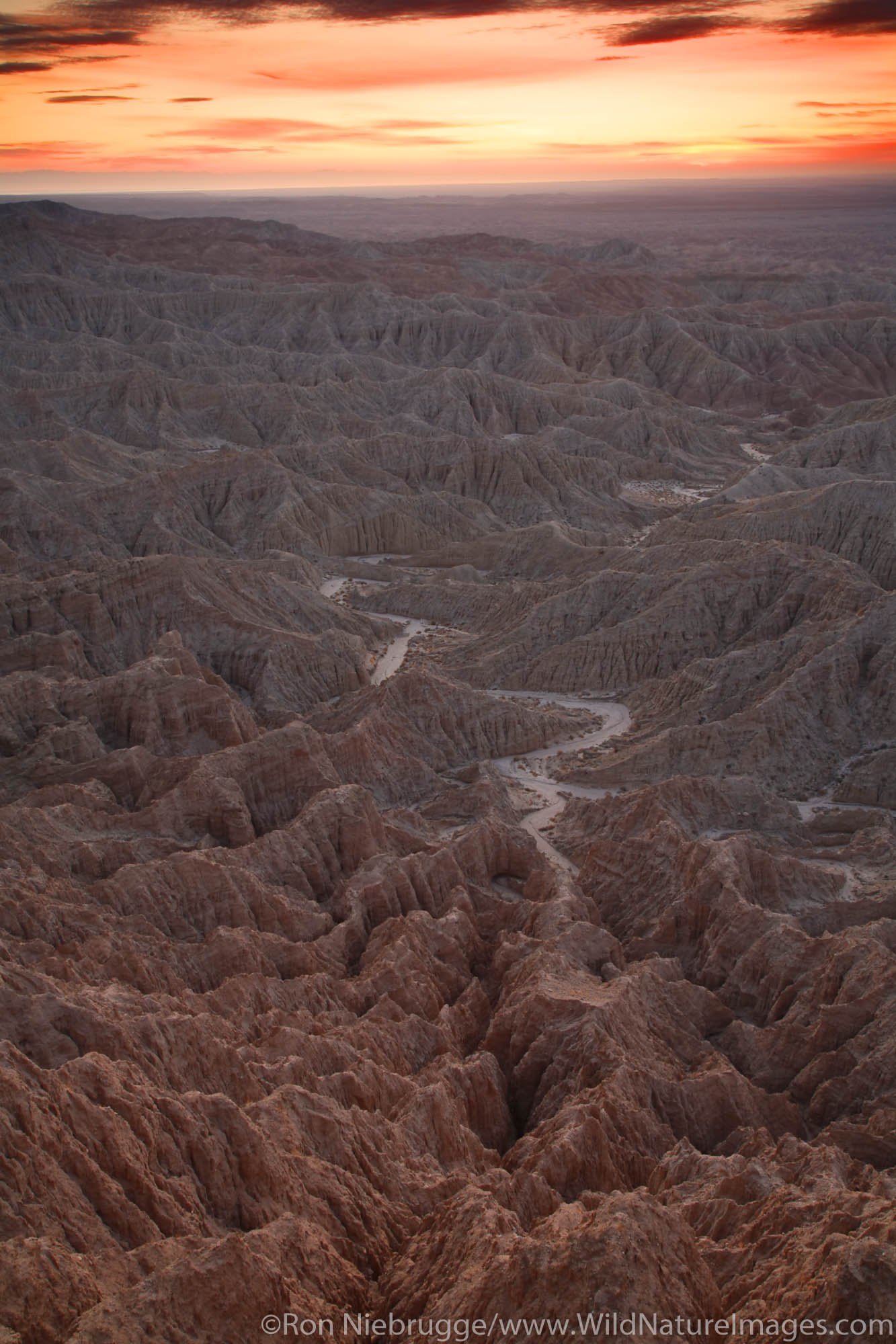 Sunrise of the Badlands from Font's Point, Anza-Borrego Desert State Park, California.