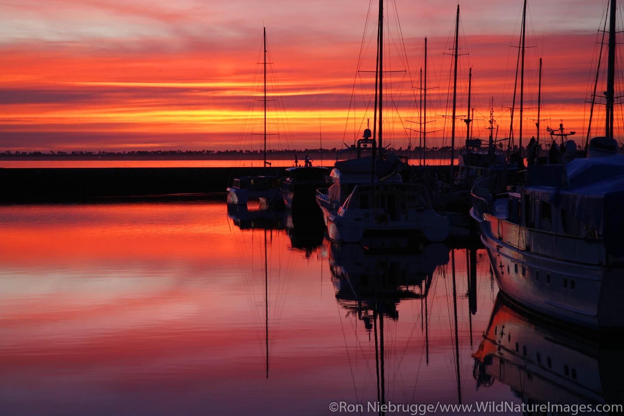 The Chula Vista Marina at sunset, Chula Vista, California.