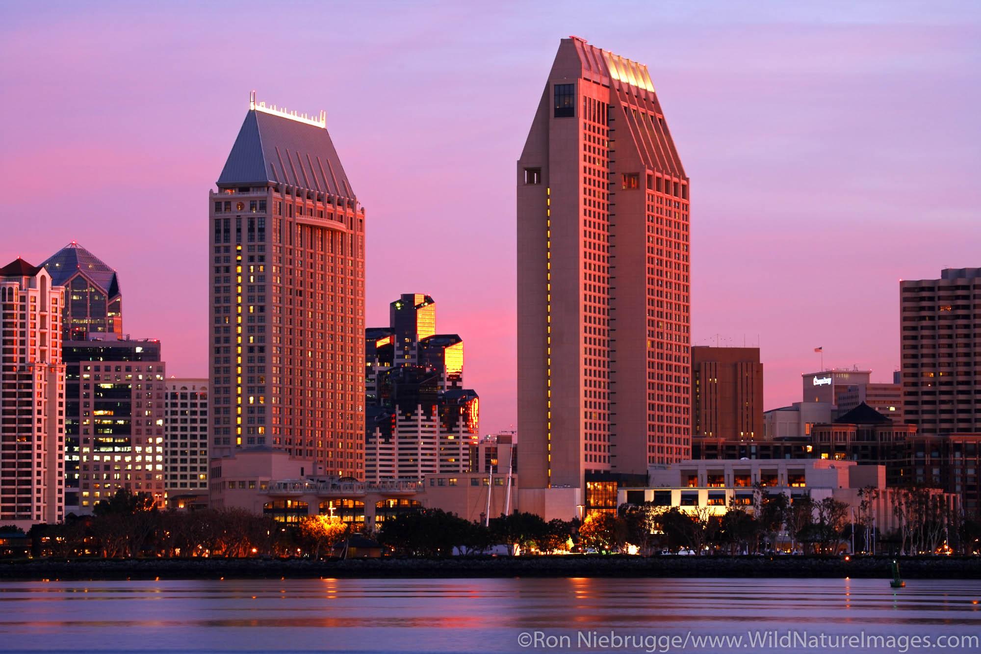 Downtown Skyline from Coronado, San Diego, California.