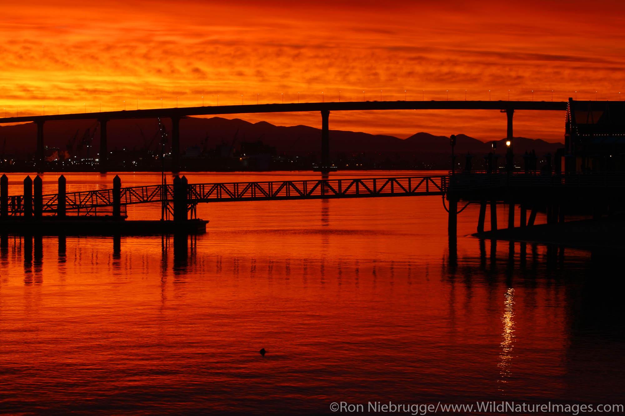 Coronado and the Coronado Bridge during sunrise, San Diego, California.