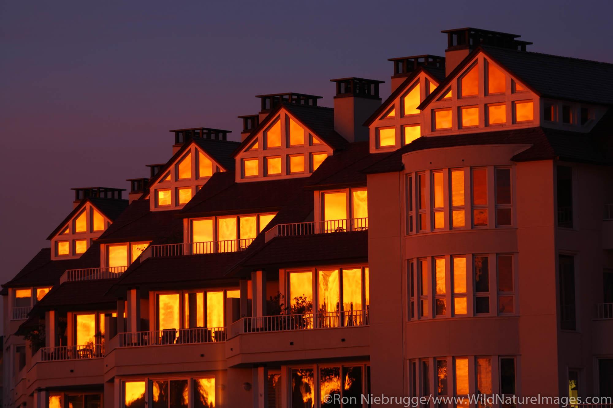 Apartments on Coronado during a beautiful sunrise, San Diego, California.