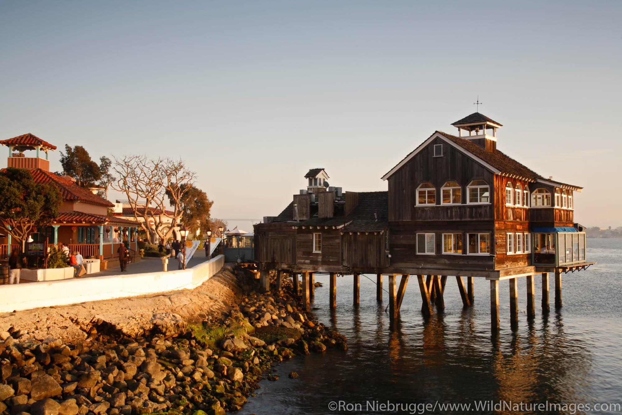 The San Diego Pier Cafe in Seaport Village, San Diego, California.