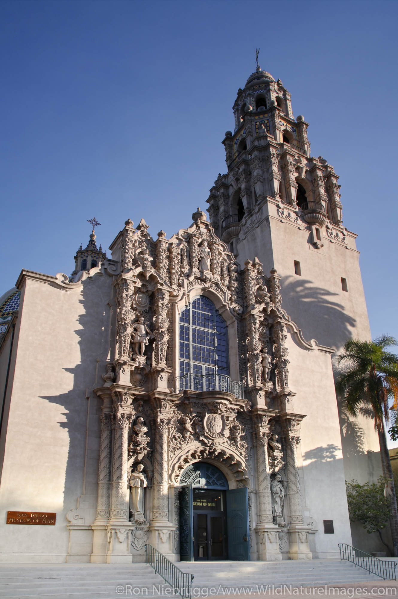 The South Facade of the Museum of Man, Balboa Park, San Diego, California.