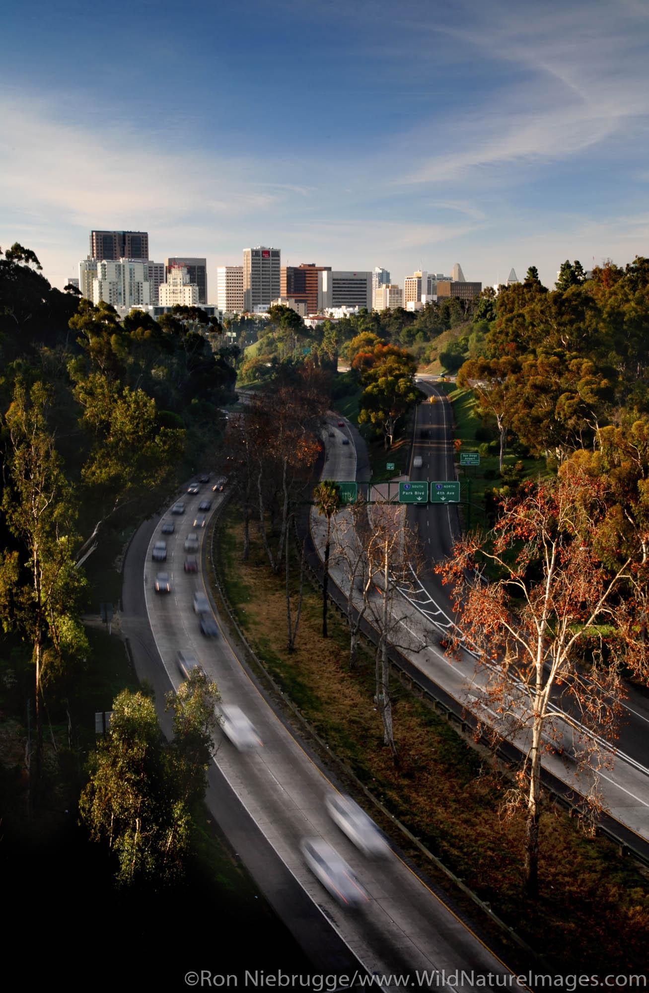 The downtown skyline from the Cabrillo Bridge, Balboa Park, San Diego, California.