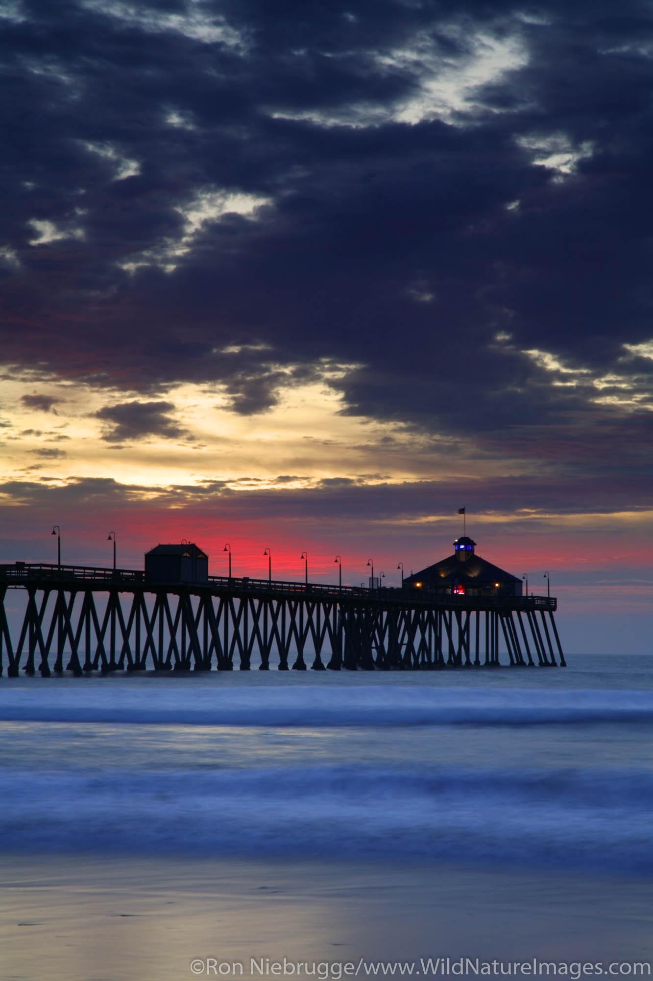 Imperial Beach Municipal Pier at sunset, San Diego County, California.