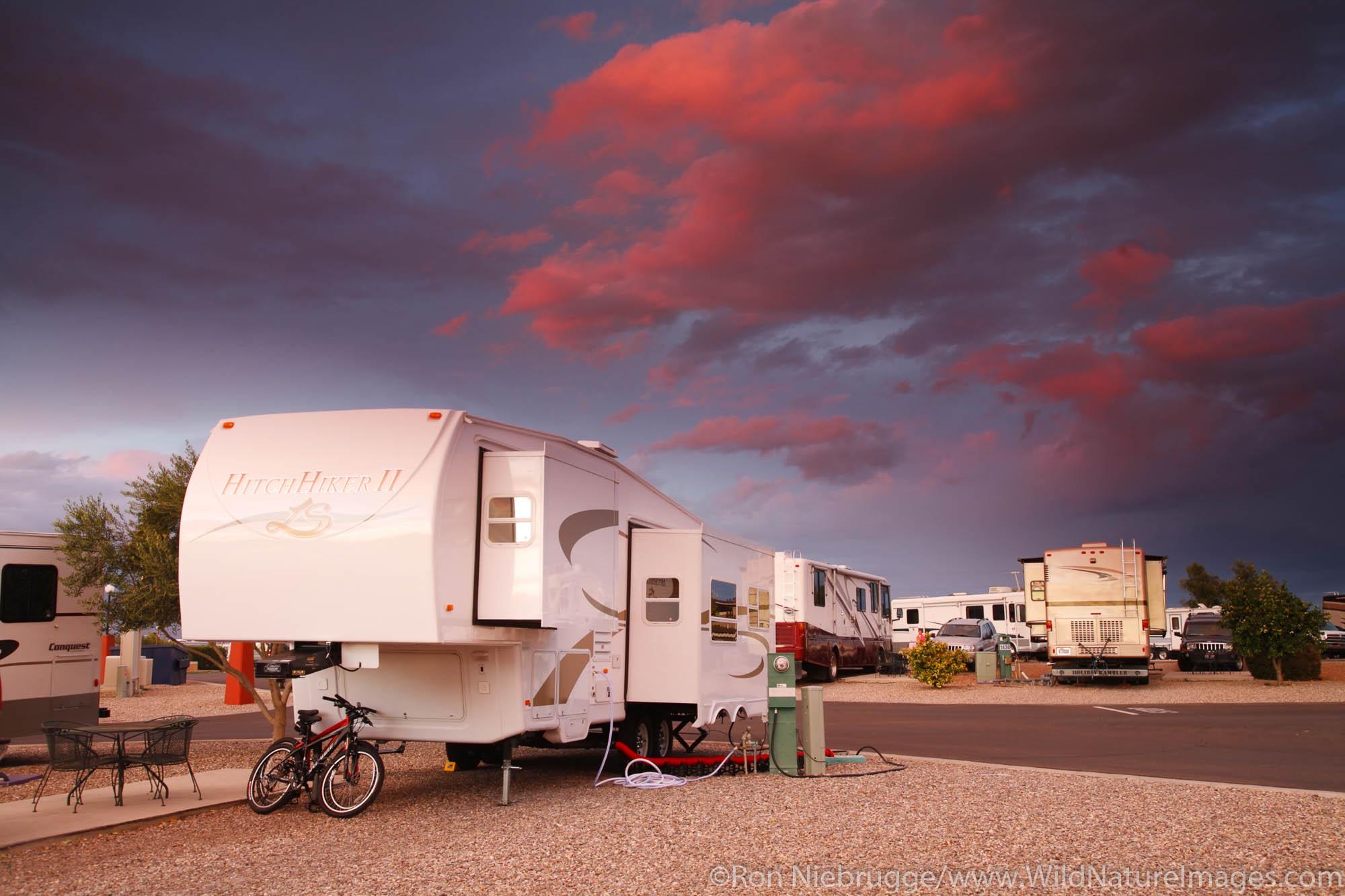 Sunset at Beaudry RV Resort, Tucson, Arizona.