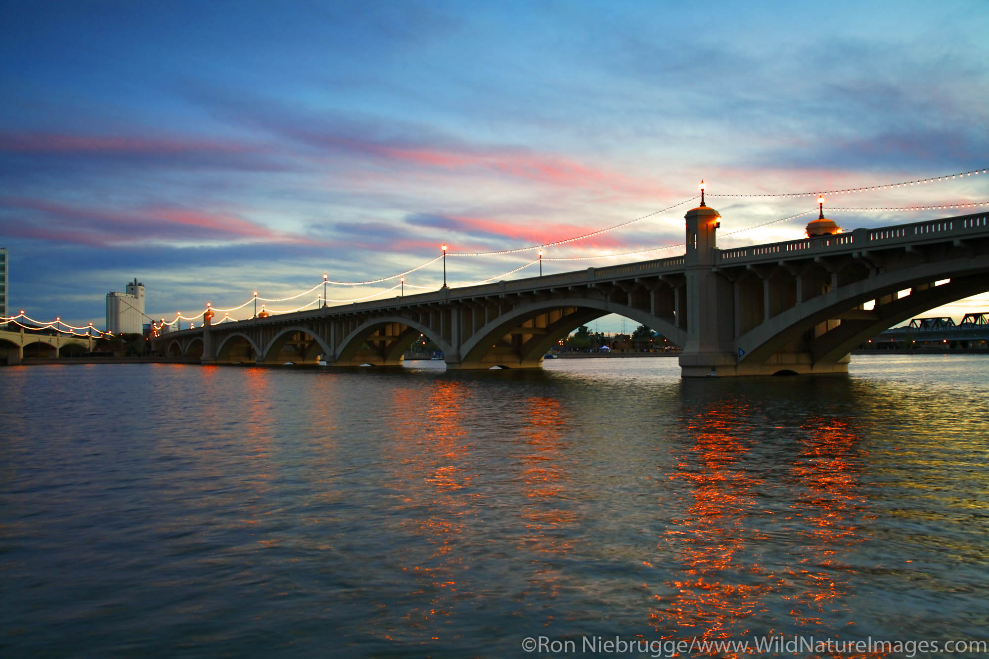 Bridges over Tempe Town Lake near Phoenix, Tempe,  Arizona.