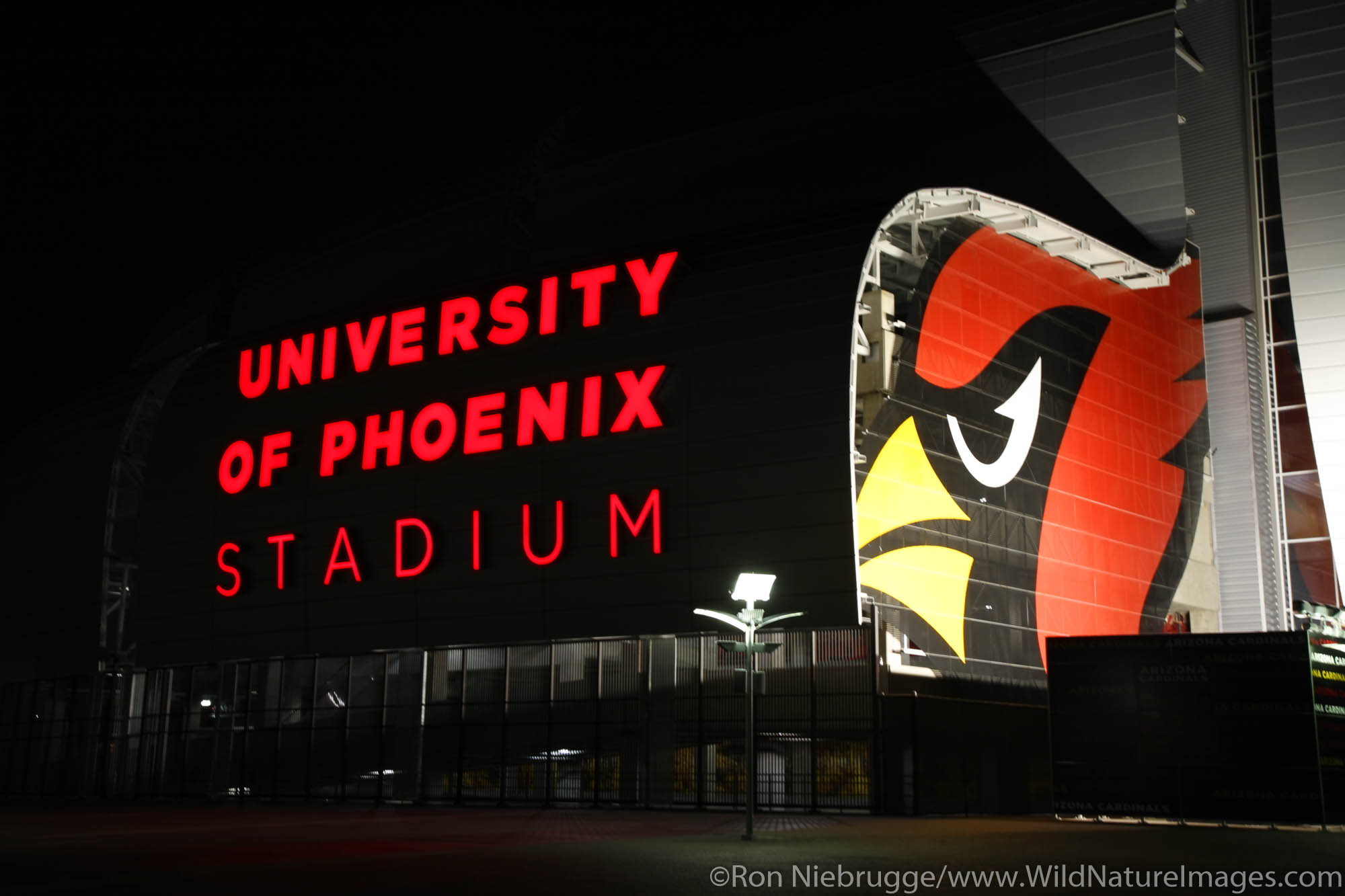 The University of Phoenix Stadium, Home of the professional football team Arizona Cardindals, Glendale, Arizona.
