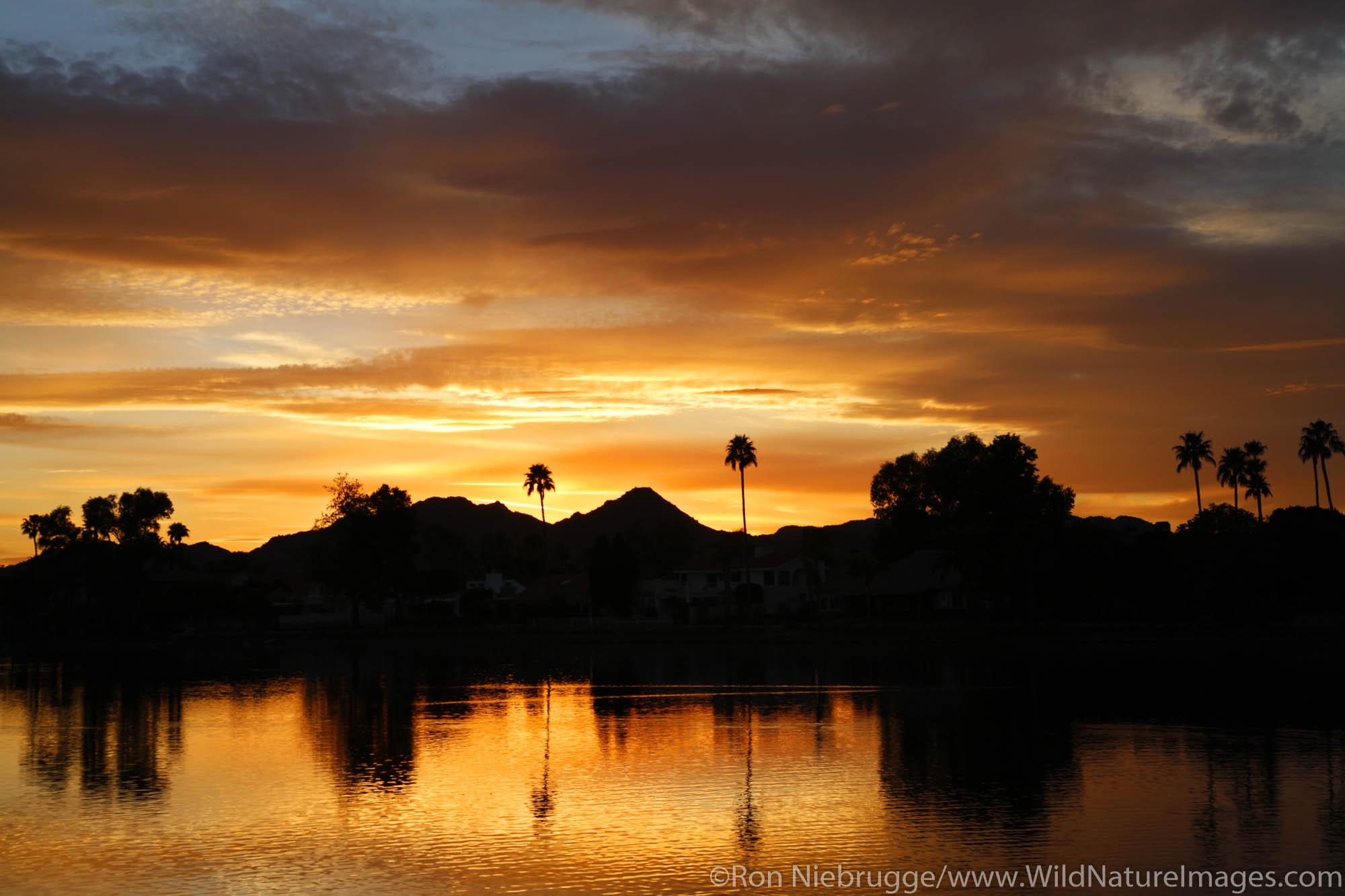 Marguerite Lake at sunset in Scottsdale, Arizona.