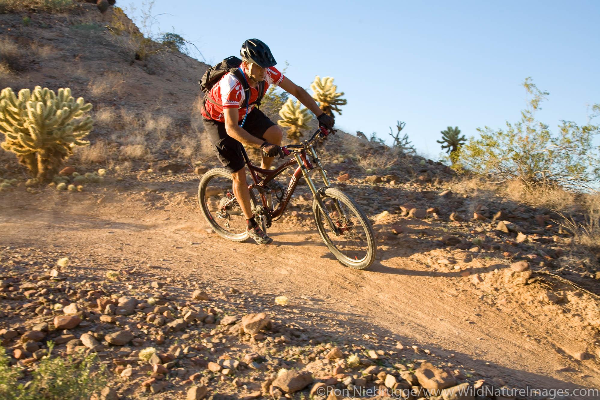 Mountain biking at McDowell Mountain Park near Phoenix, Ariziona. (Model Released)