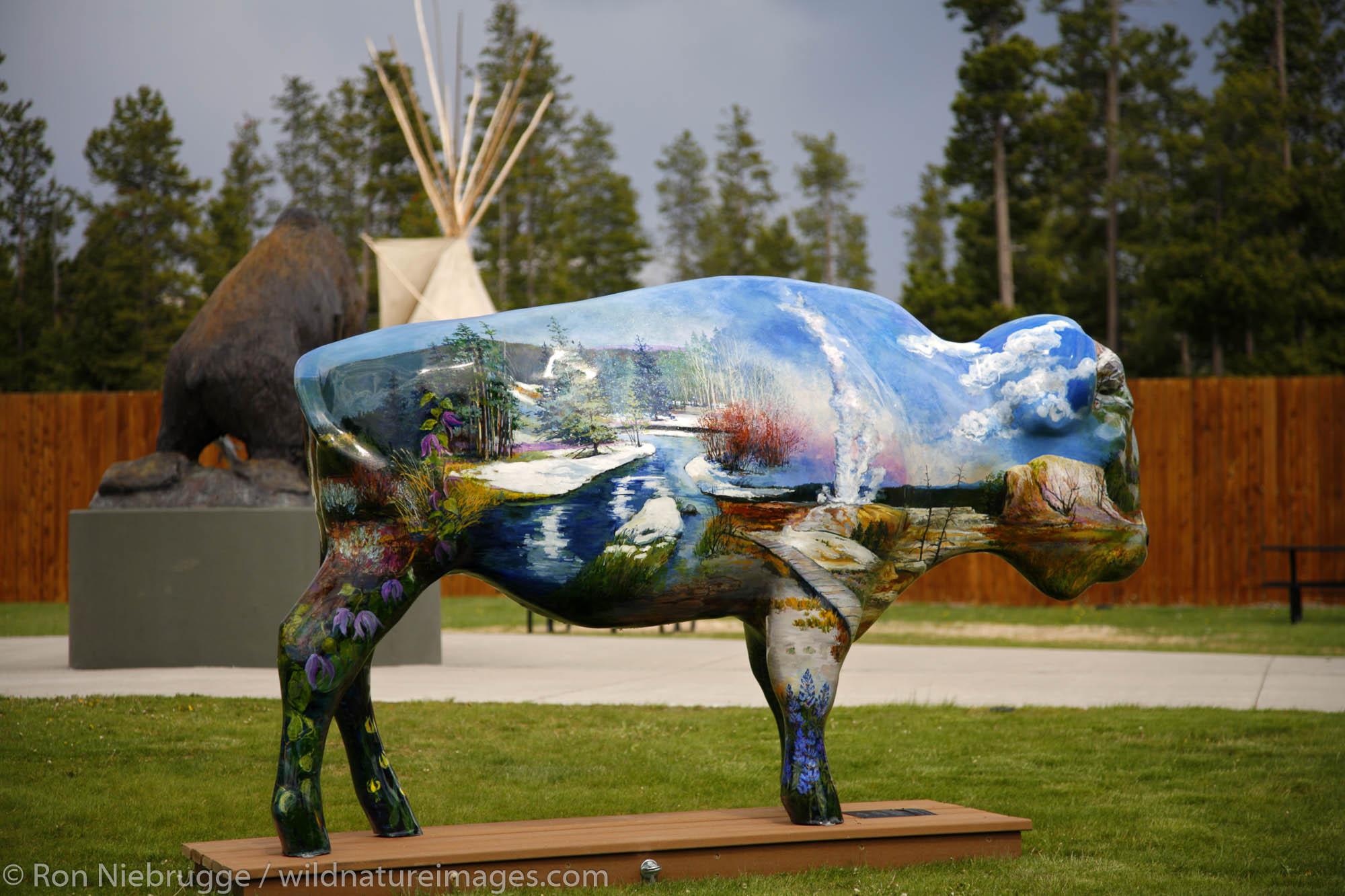 Painted buffalo in West Yellowstone, Montana.