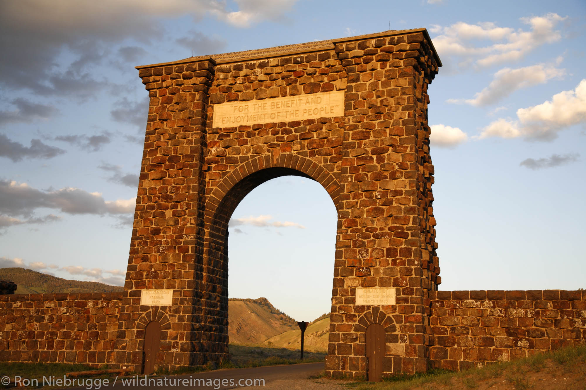 The arch over the North Entrance near Gardiner, Yellowstone National Park, Wyoming.