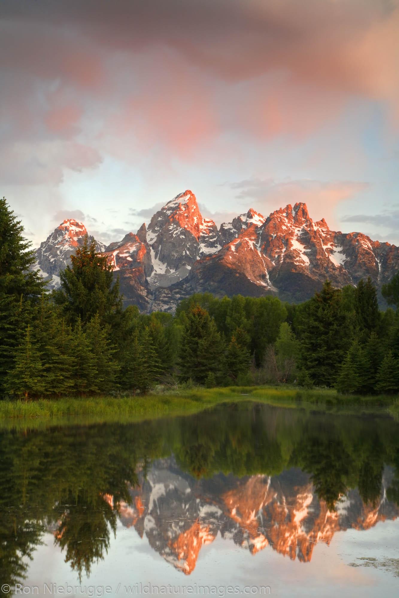 The Teton Range from Schwabacher Landing, Grand Teton National Park, Wyoming.