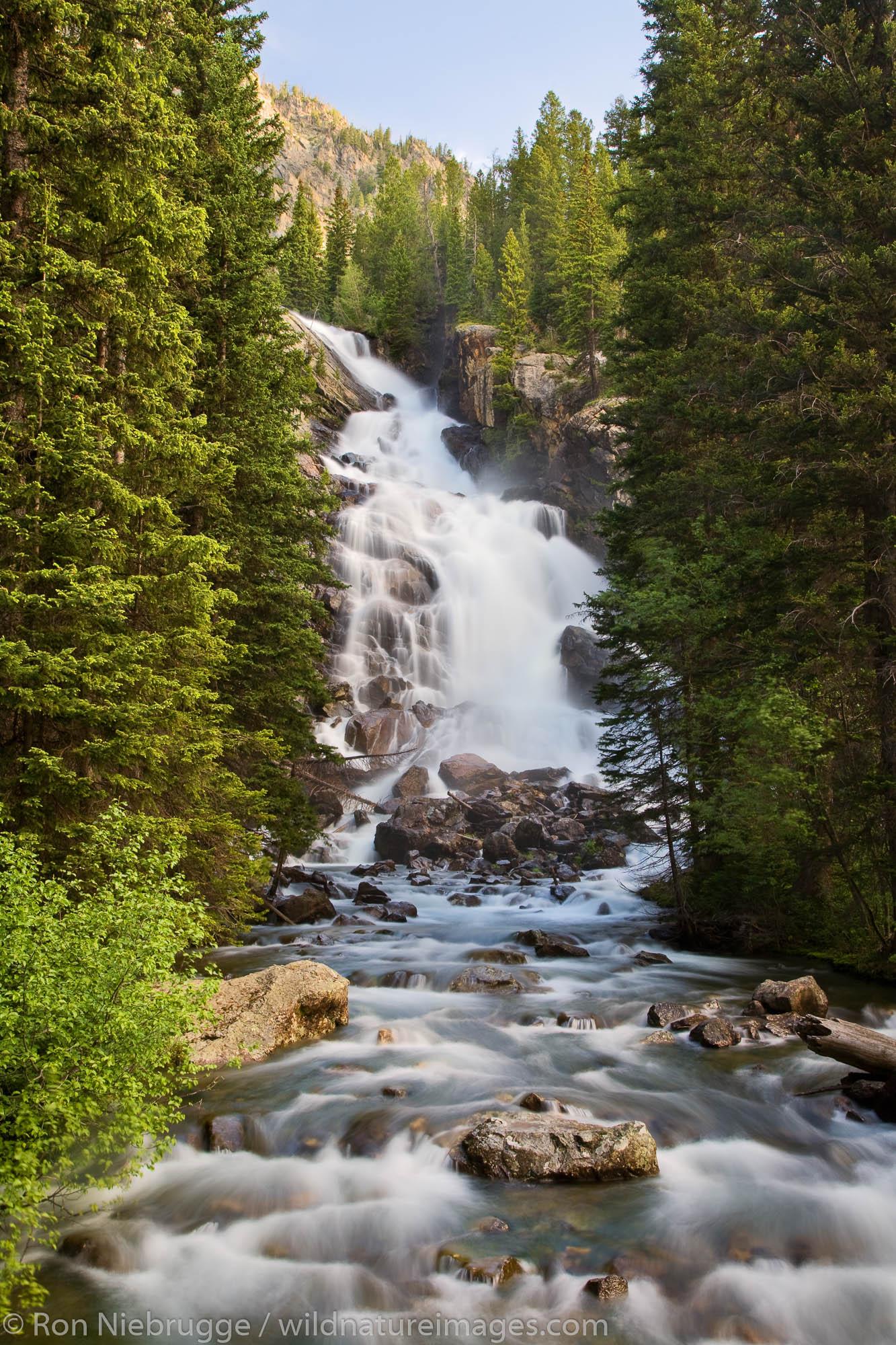 Hidden Falls on Cascade Creek from the Hidden Falls Trail, Grand Teton National Park, Wyoming.