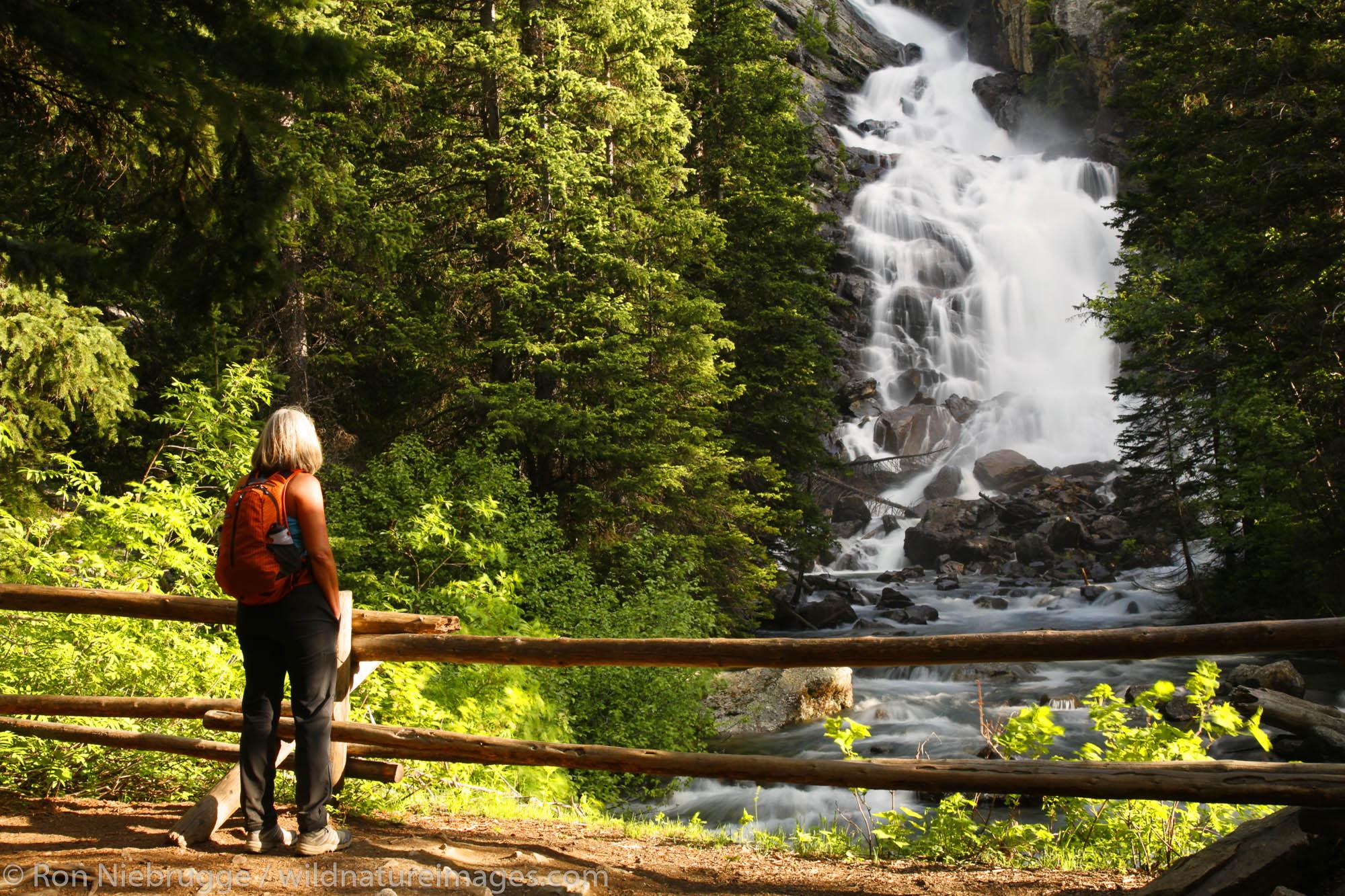 A hiker views Hidden Falls on Cascade Creek from the Hidden Falls Trail, Grand Teton National Park, Wyoming. (MR)