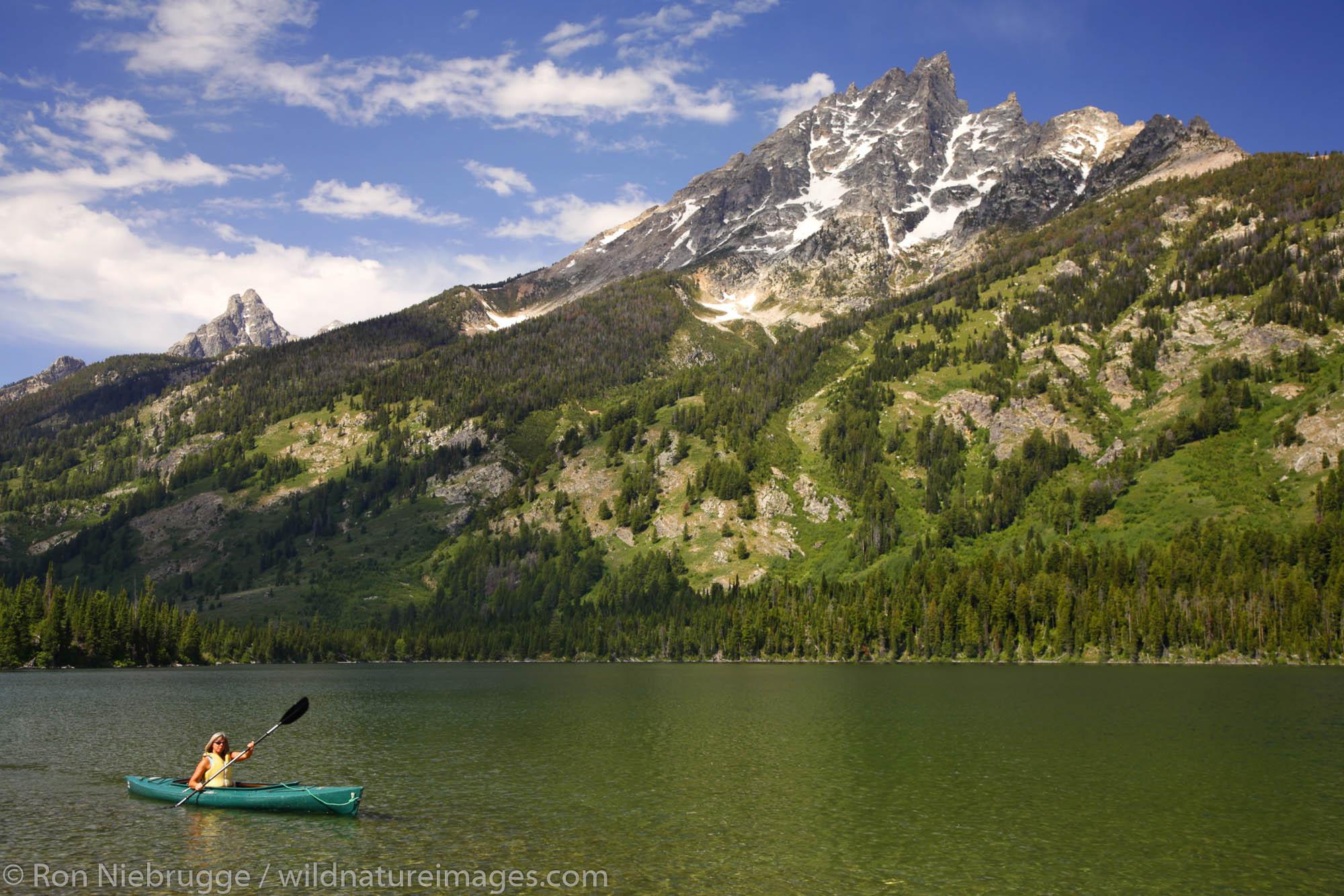 Kayaking on Jenny Lake, Grand Teton National Park, Wyoming. (MR)