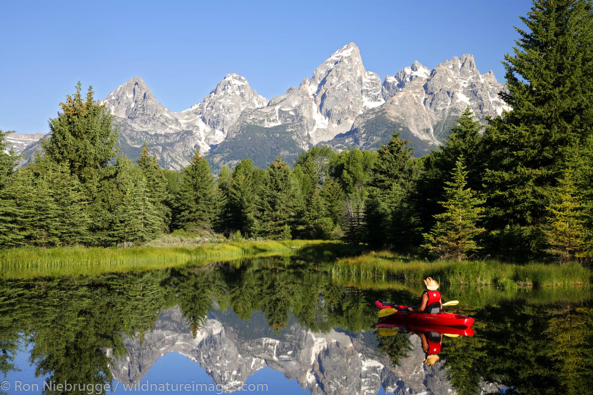Kayaking in Grand Teton National Park, Wyoming.  (model released)