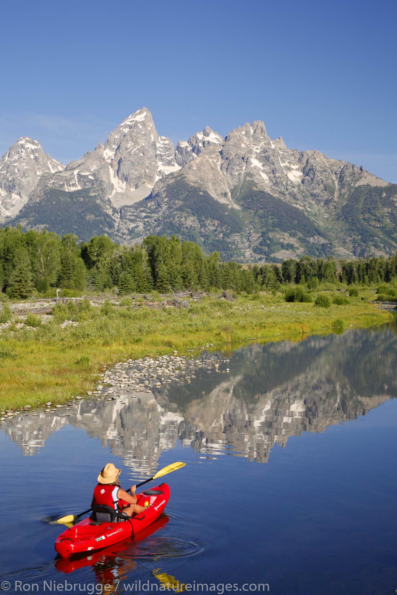 Kayaking on the Snake River in Grand Teton National Park, Wyoming.  (model released)
