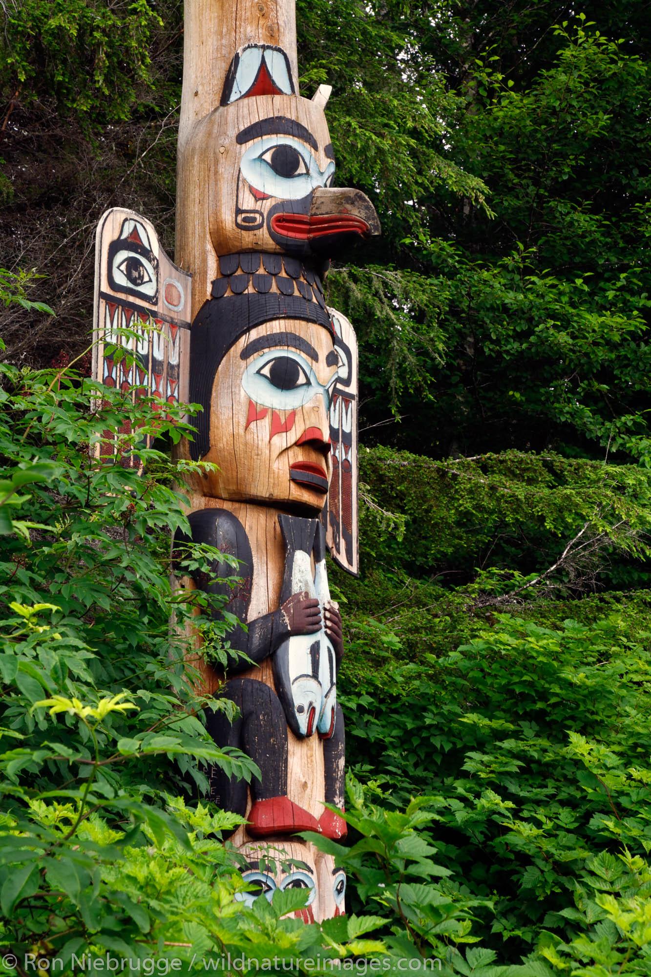 The base of the Kadjuk Bird Pole (pole 12), Totem Bight State Historical Park, Ketchikan, Alaska
