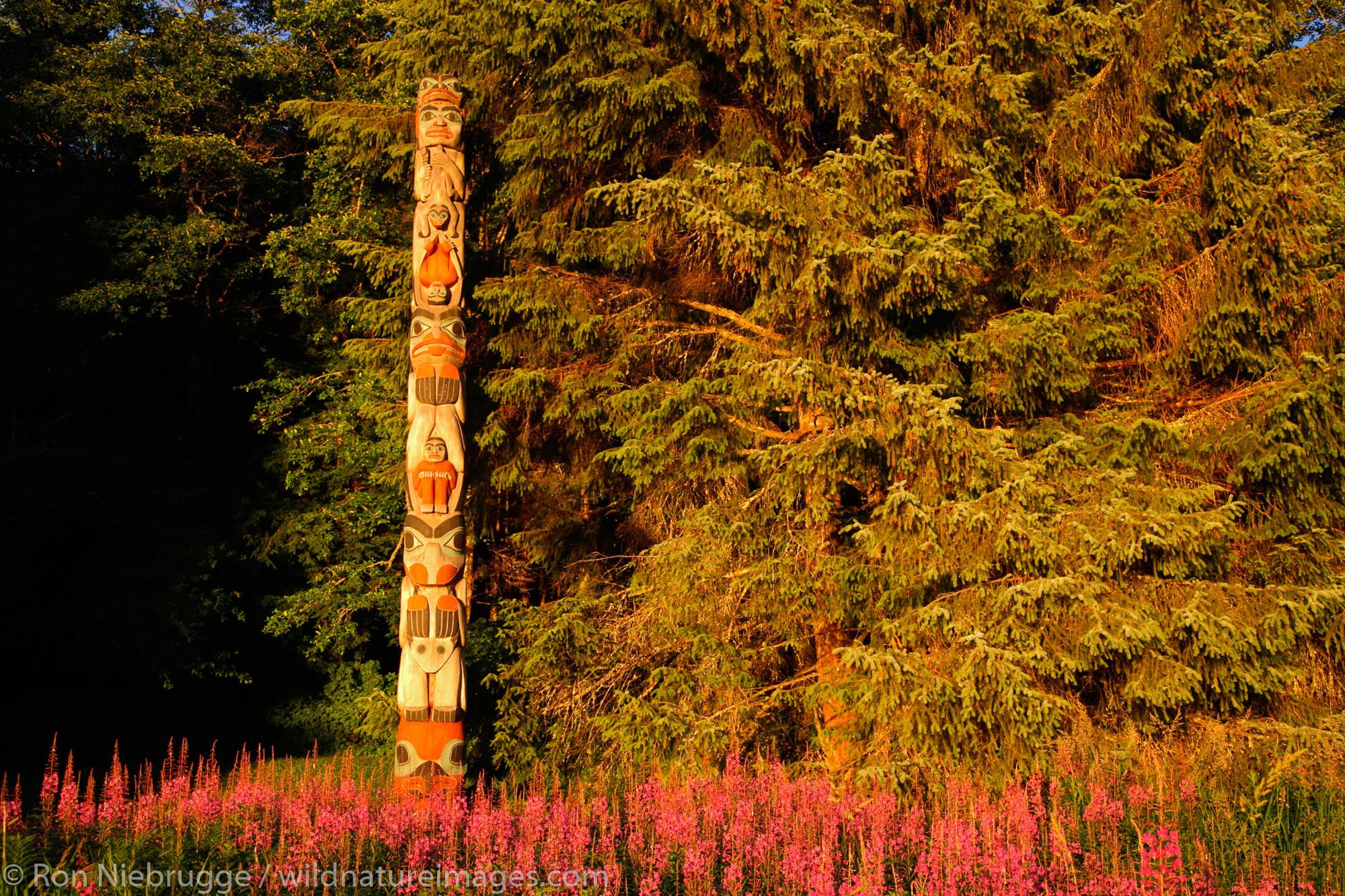 The Land Otter Pole (pole 7), Totem Bight State Historical Park, Ketchikan, Alaska