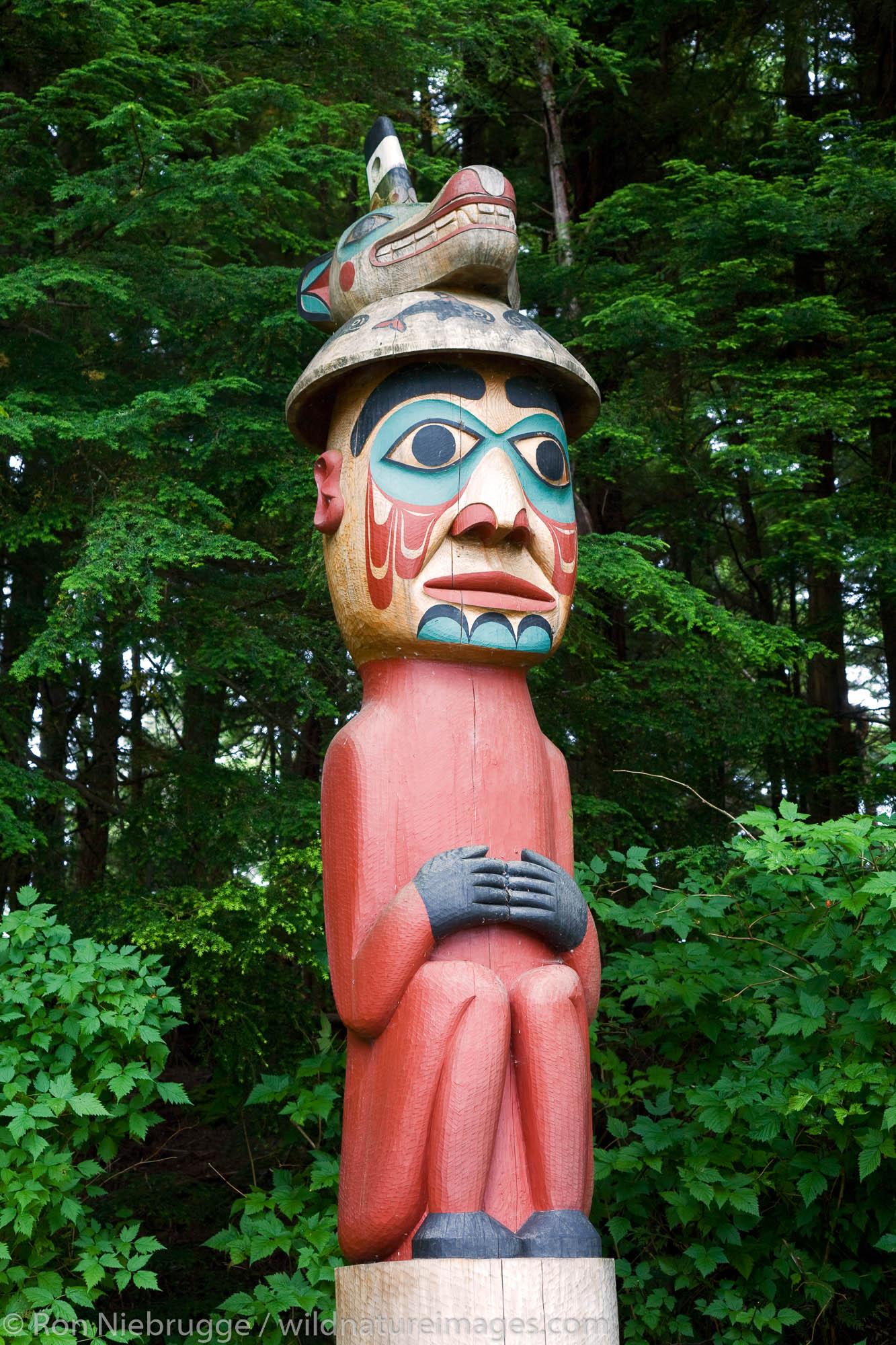 Pole 3, Man Wearing Bear Hat, Totem Bight State Historical Park, Ketchikan, Alaska.