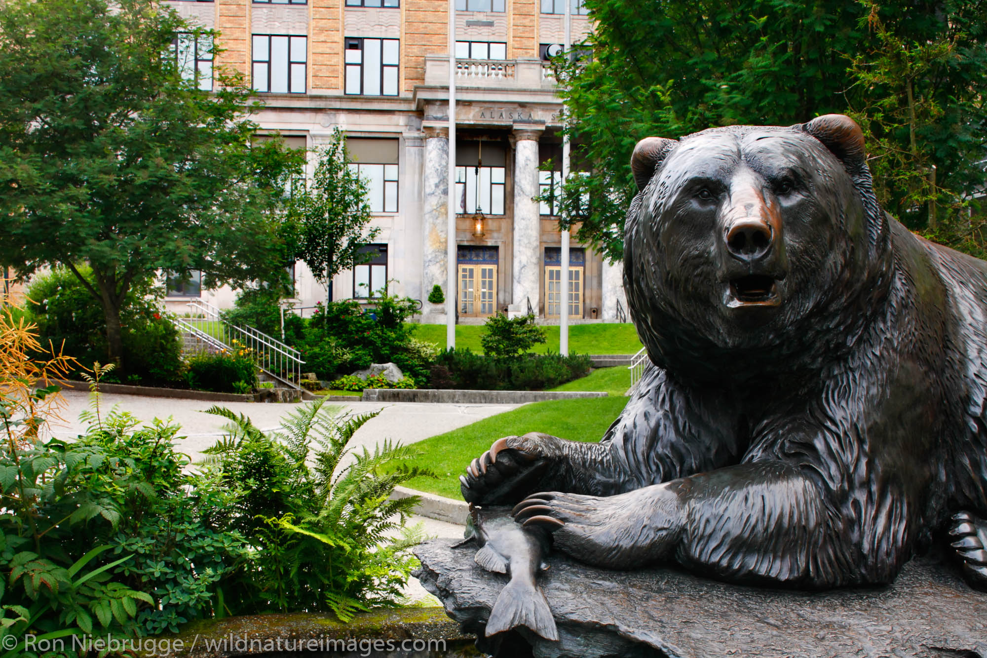 A bear statue in front of the Alaska State Capitol building, Downtown Juneau, Alaska.
