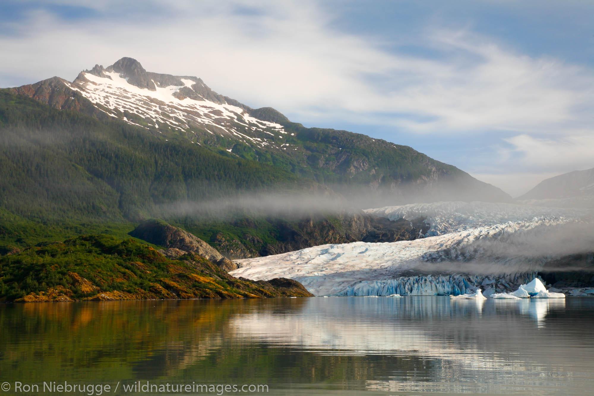 Mendenhall Glacier and Lake near Juneau, Alaska.