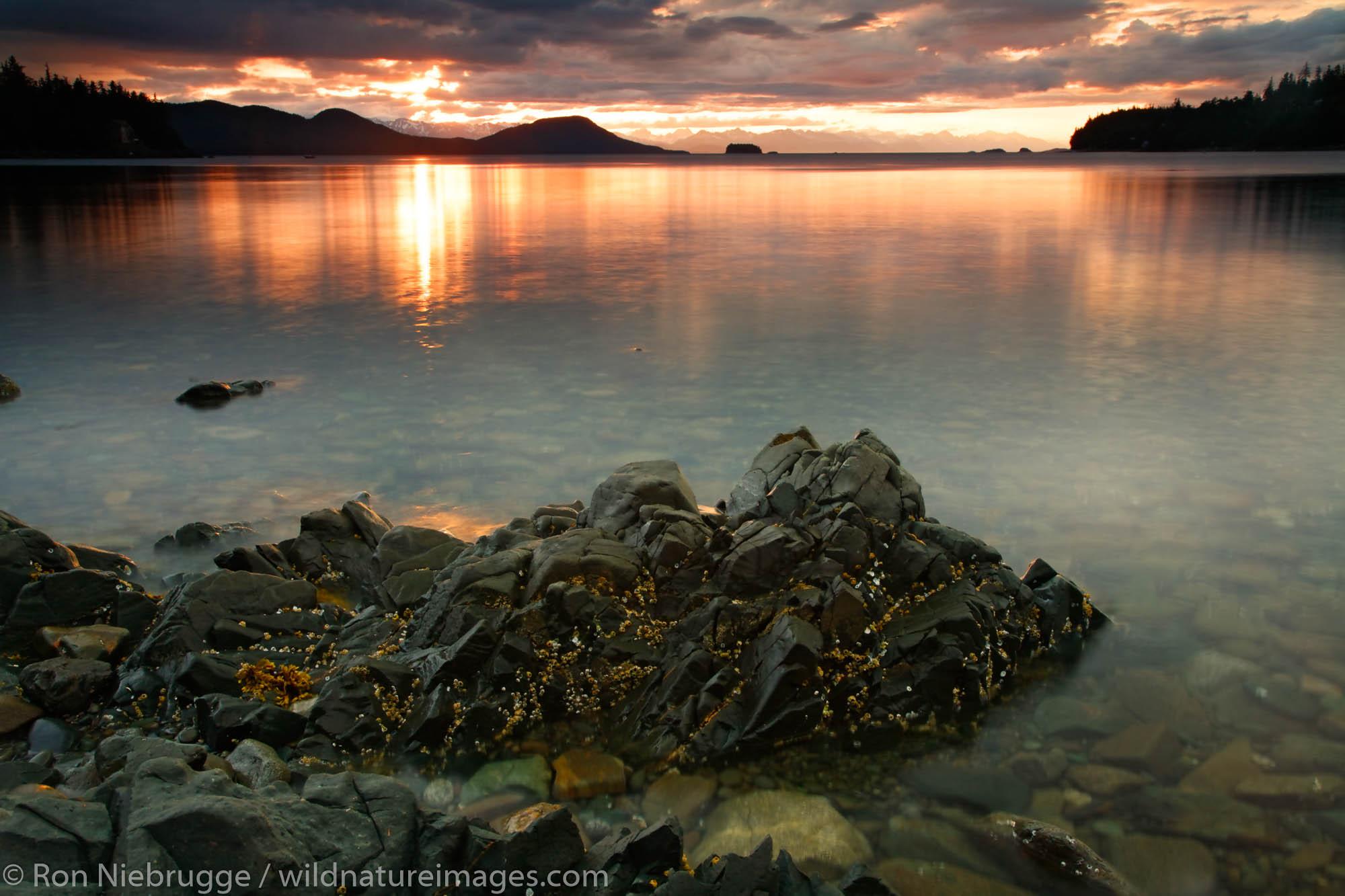 Sunset over Lena Cove and Lynn Canal, Juneau, Alaska.