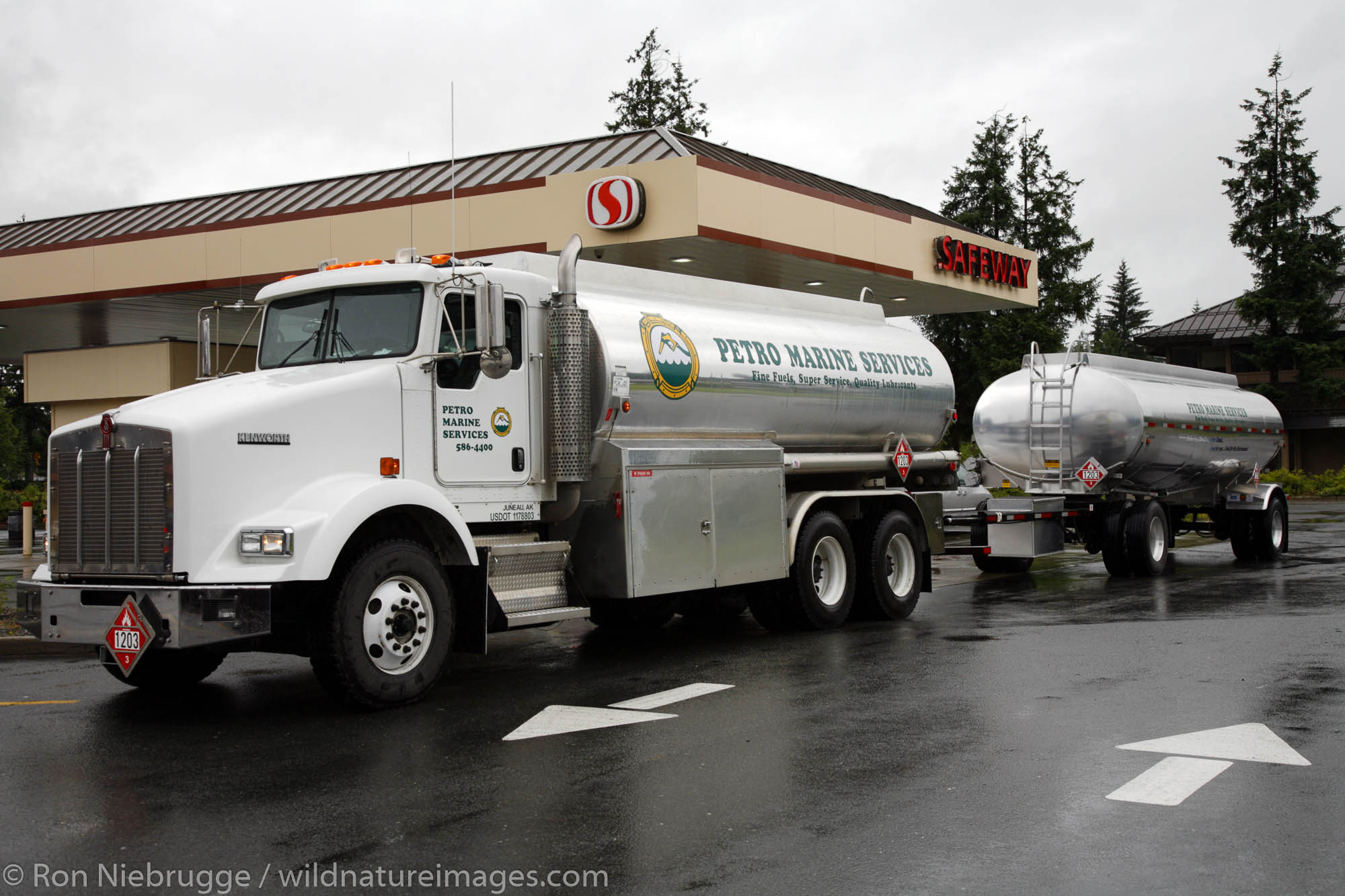Petro Marine Services truck delivering gas to the Safeway service station, Juneau, Alaska.