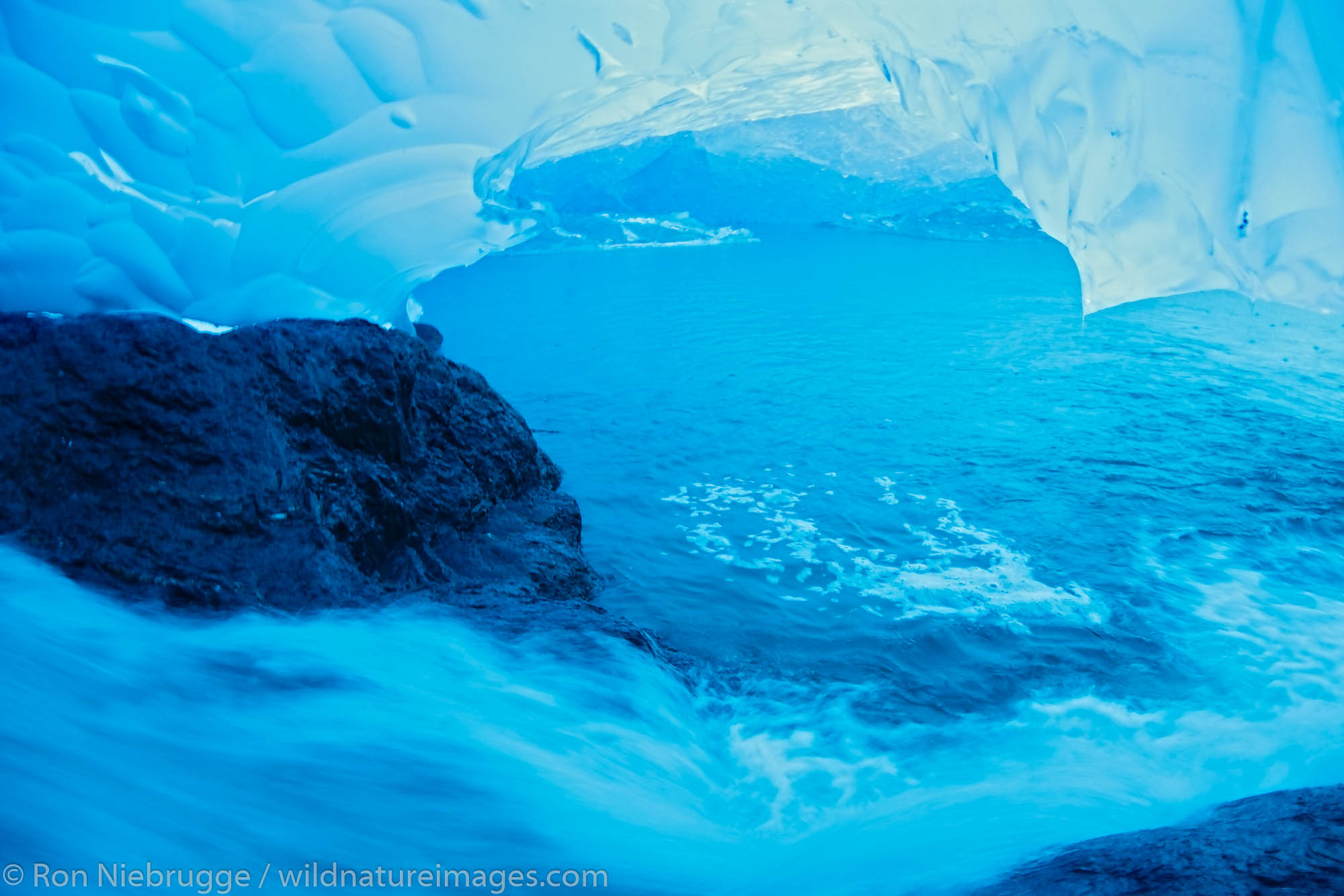 An ice cave in Mendenhall Glacier, Juneau, Alaska.
