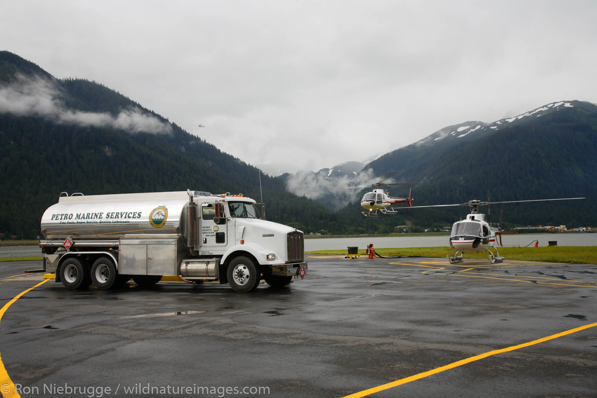 Petro Marine Services truck delivering fuel to ERA, Juneau, Alaska.