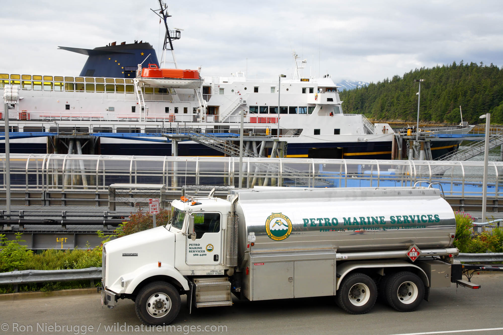 Petro Marine Services truck delivering fuel to the Alaska State Ferry, Juneau, Alaska.